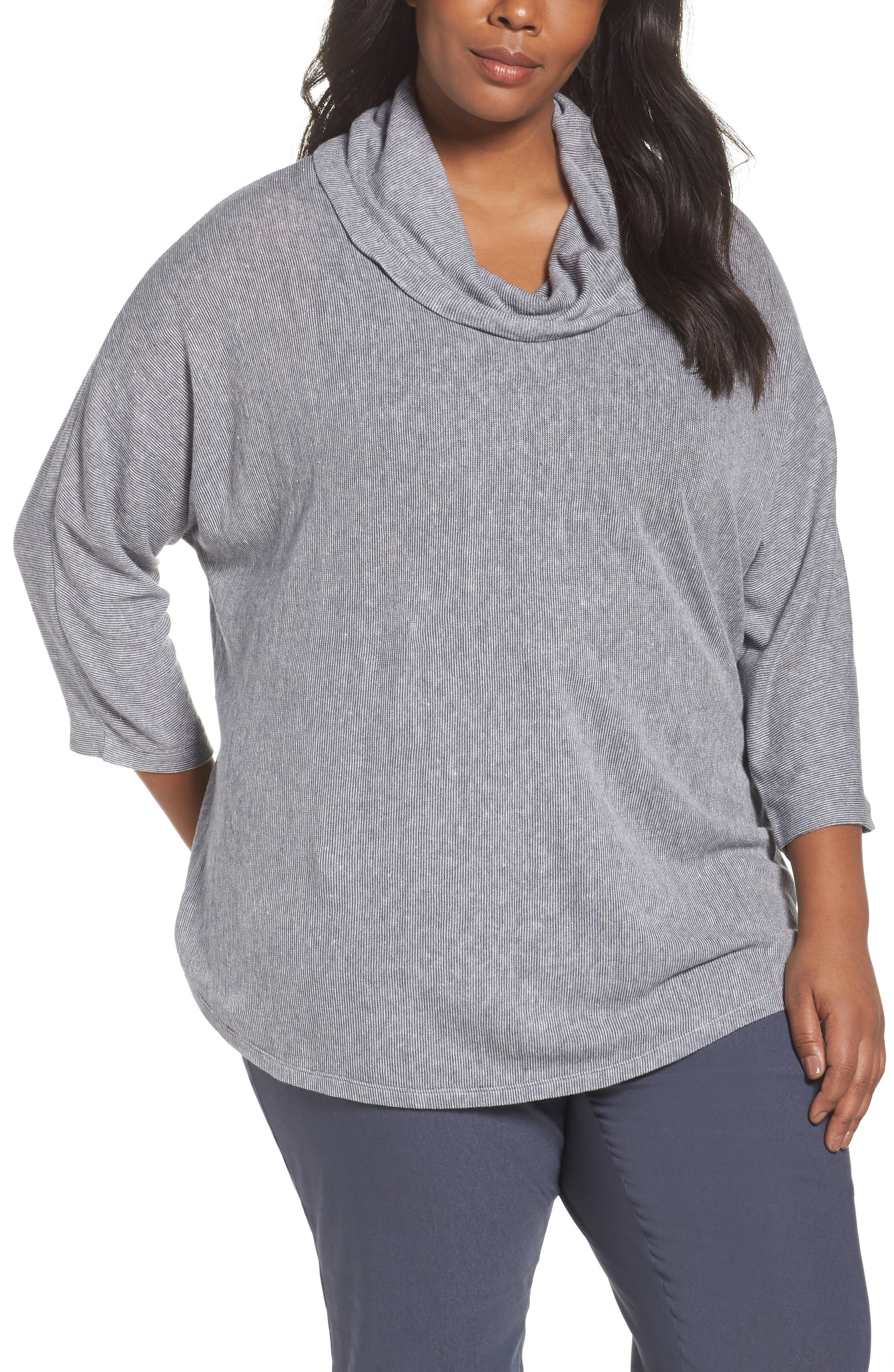 Blissful Cowl Neck Top,                         Main,                         color, Grey Multi