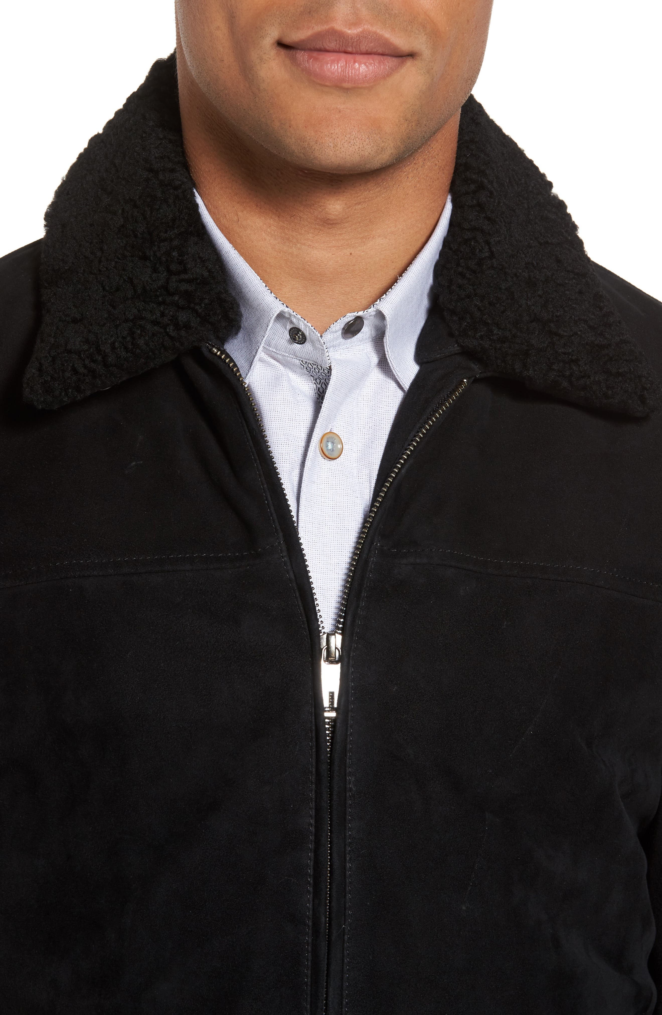 Genuine Shearling Collar Suede Jacket,                             Alternate thumbnail 4, color,                             Black