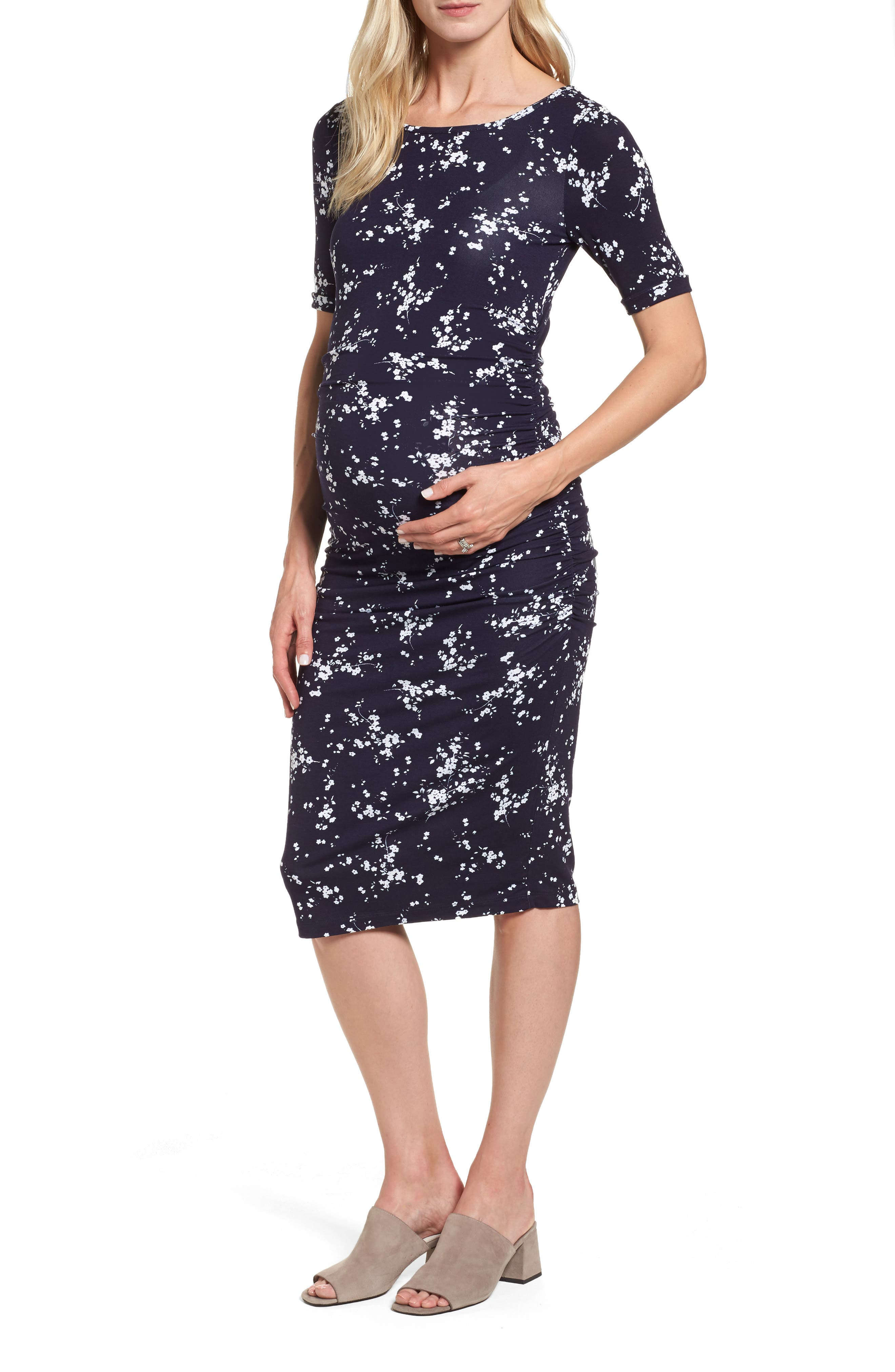Paloma Floral Maternity Body-Con Dress,                         Main,                         color, Winter Blossom Flora