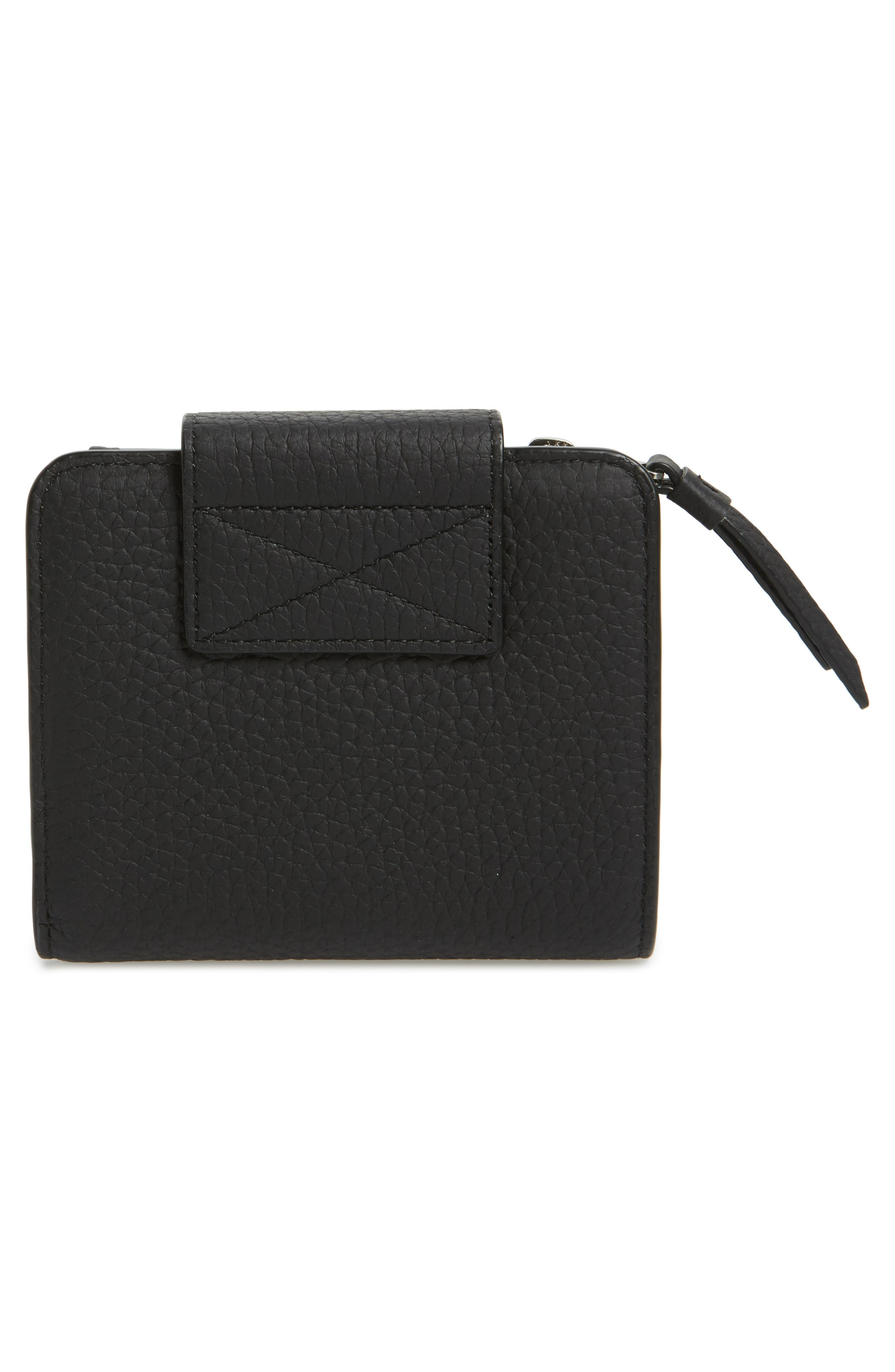 Small Ray Leather Wallet,                             Alternate thumbnail 3, color,                             Black