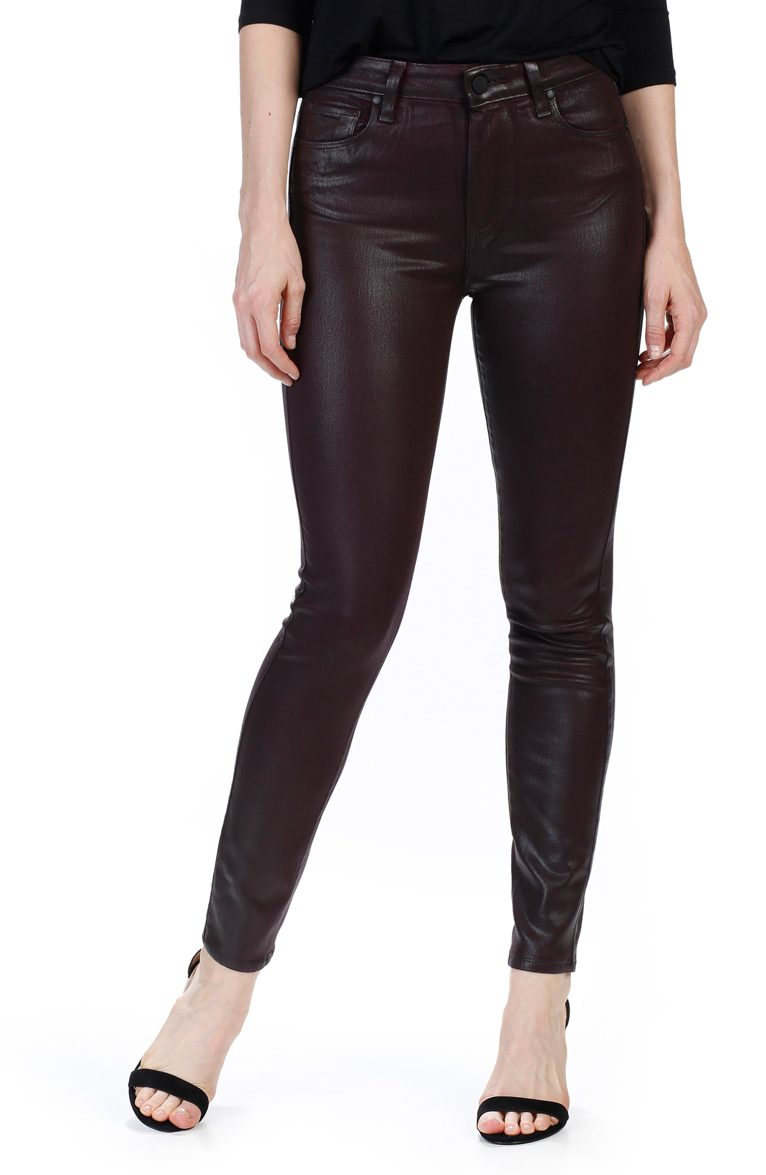 Main Image - PAIGE Transcend - Hoxton High Waist Ankle Skinny Jeans (Wine Luxe Coated)