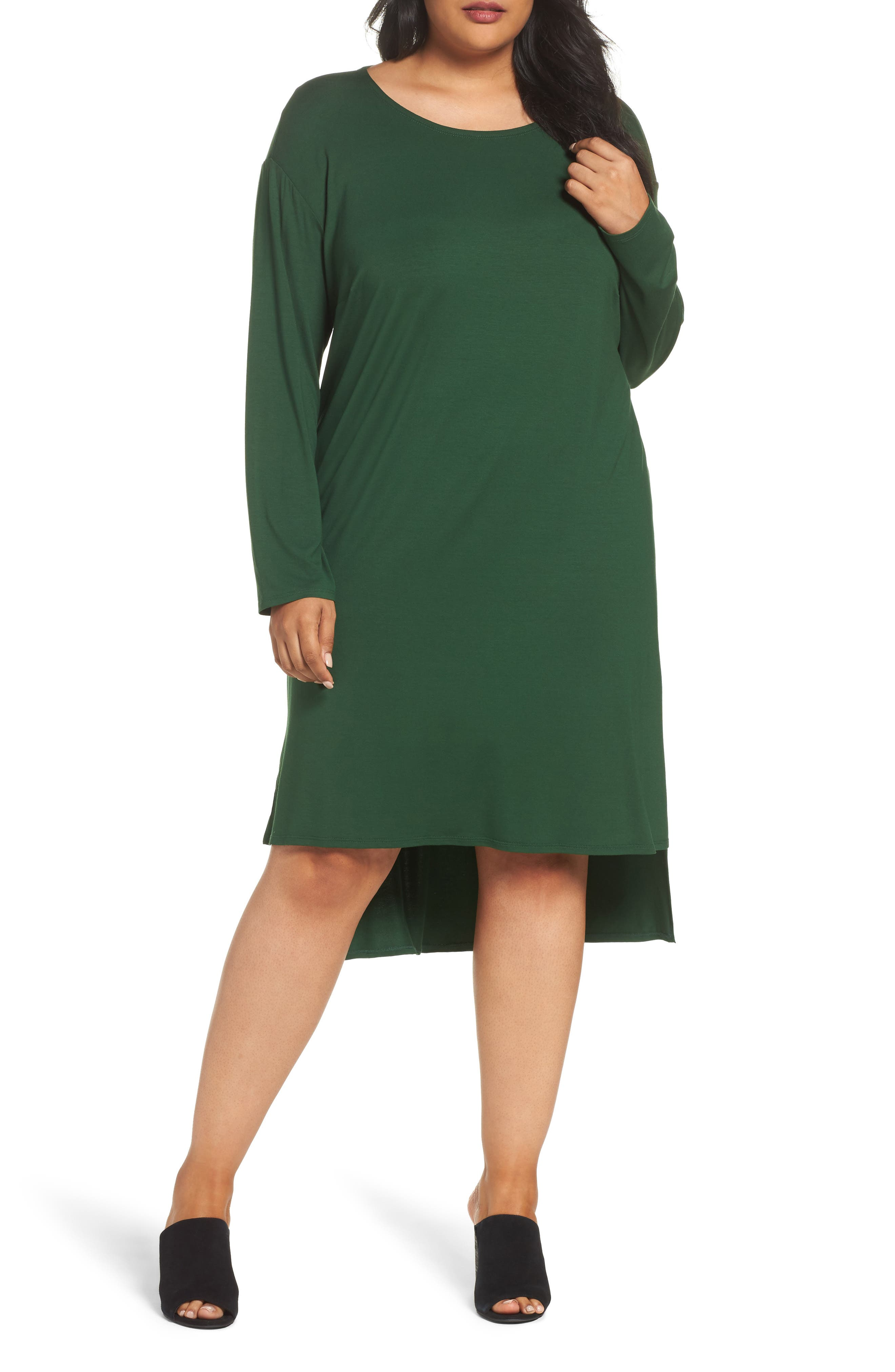 Alternate Image 1 Selected - Eileen Fisher High/Low Jersey Shift Dress (Plus Size)