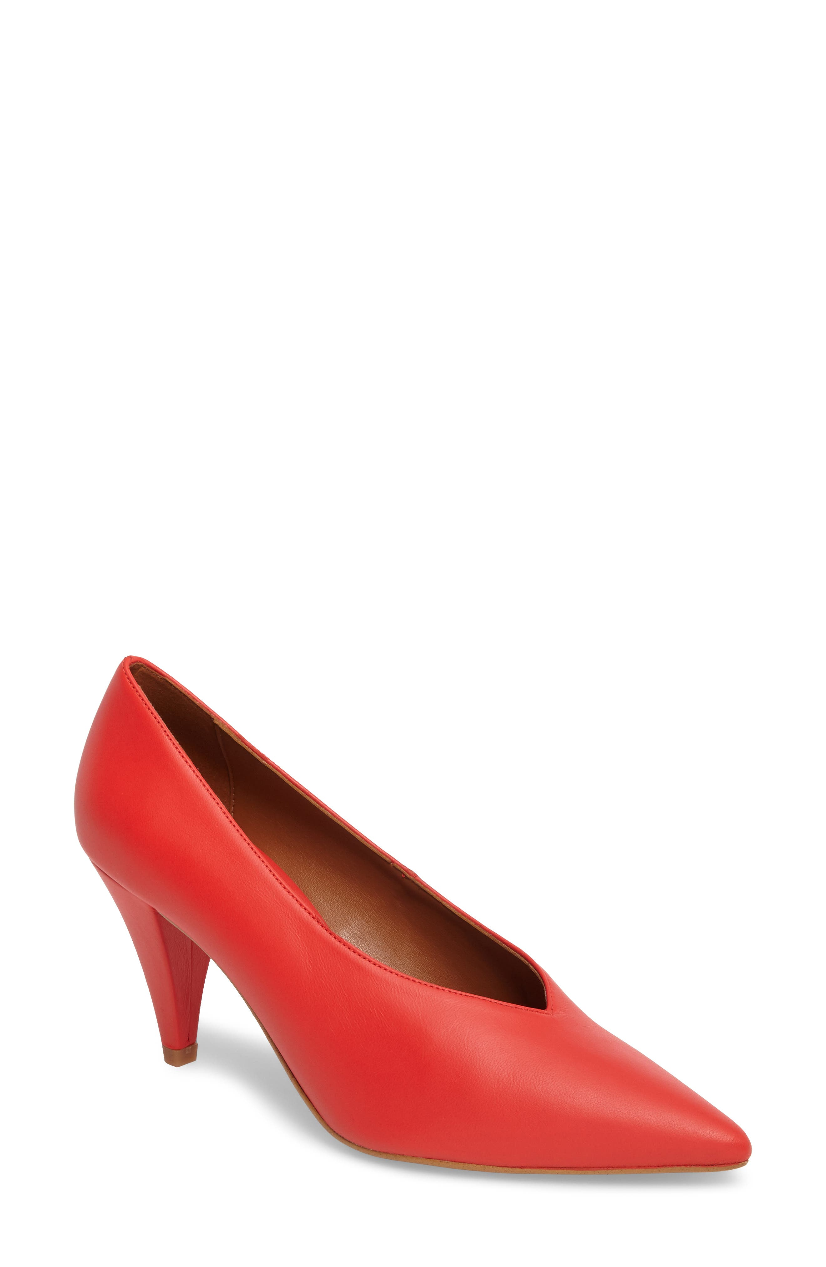 Journal Pointy Toe Pump,                         Main,                         color, Red