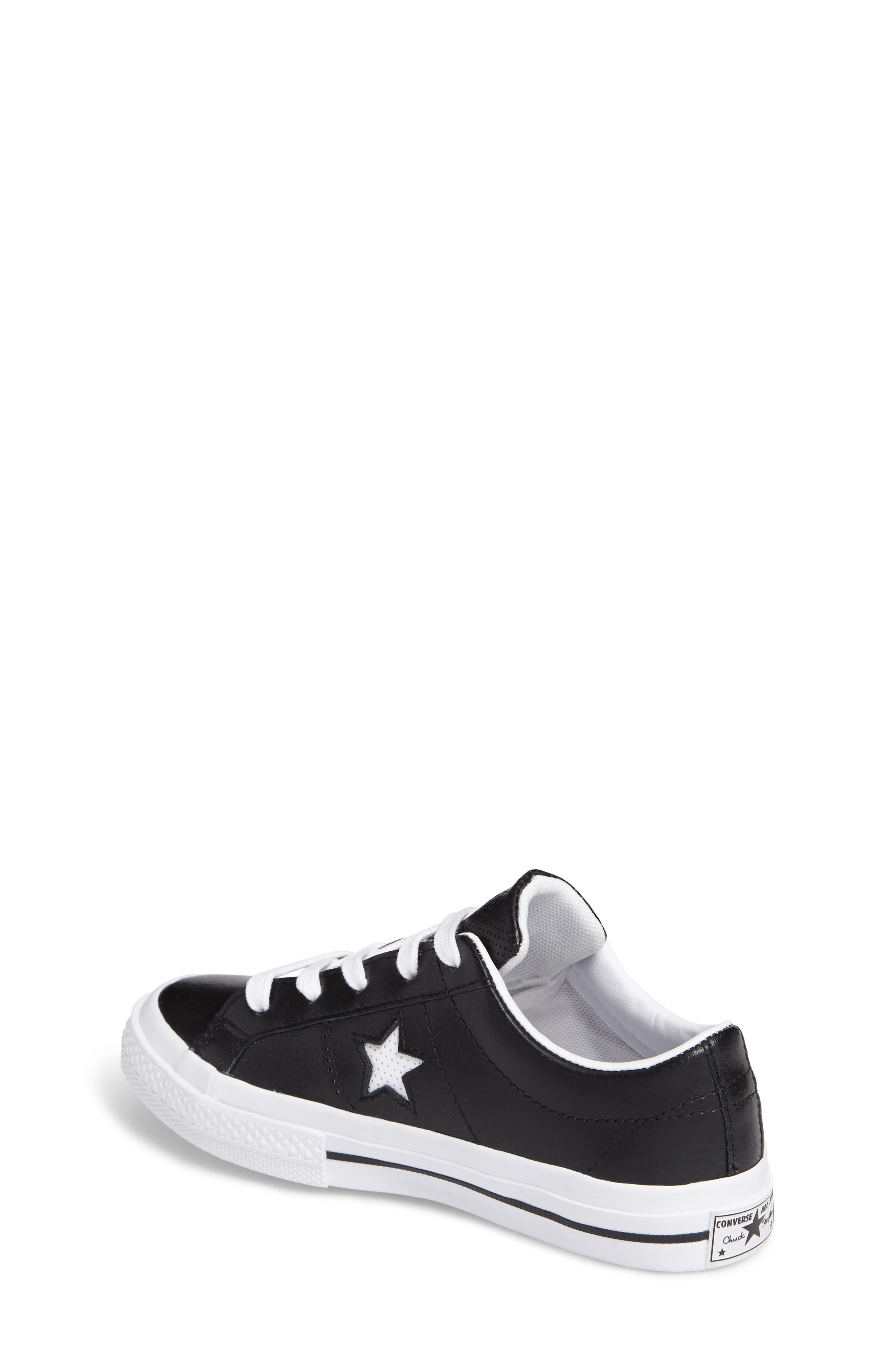Chuck Taylor<sup>®</sup> All Star<sup>®</sup> One Star Sneaker,                             Alternate thumbnail 2, color,                             Black Leather