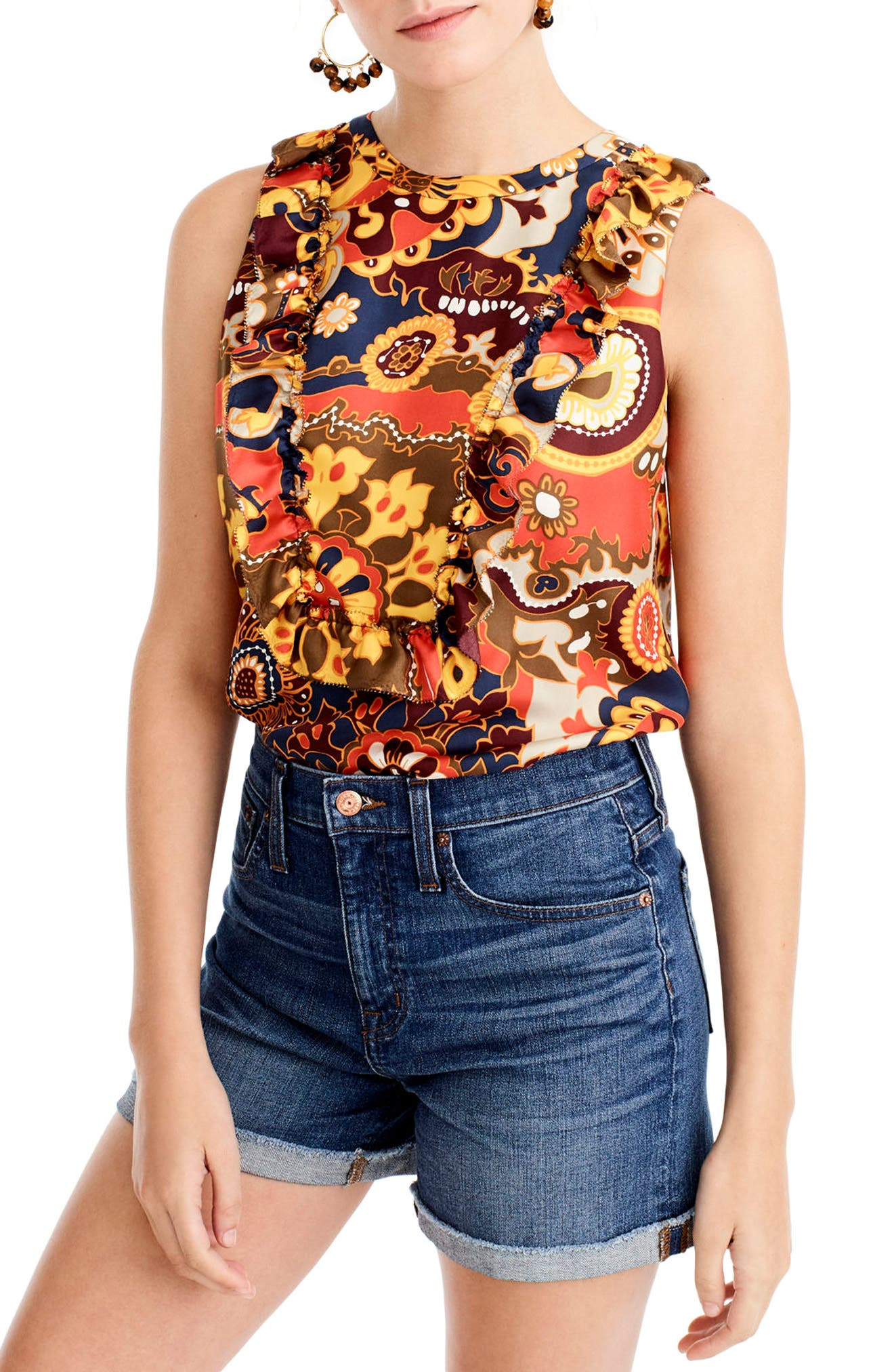 Alternate Image 1 Selected - J.Crew Darwin Silk Twill Tank (Regular & Petite)