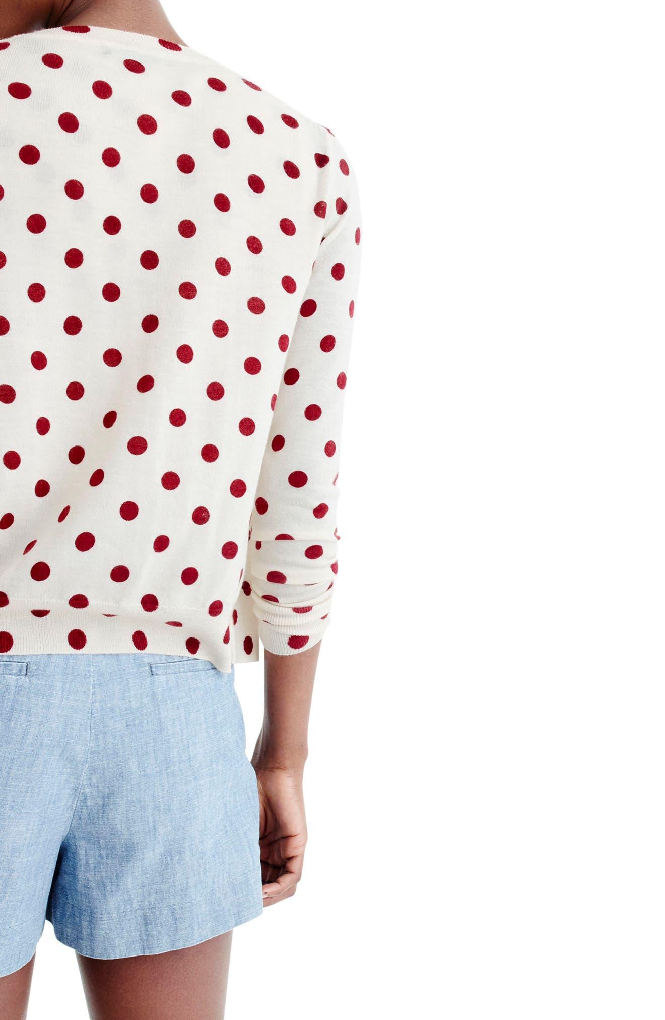 Sequin Polka Dot Cardigan,                             Alternate thumbnail 2, color,                             Dusty Ruby