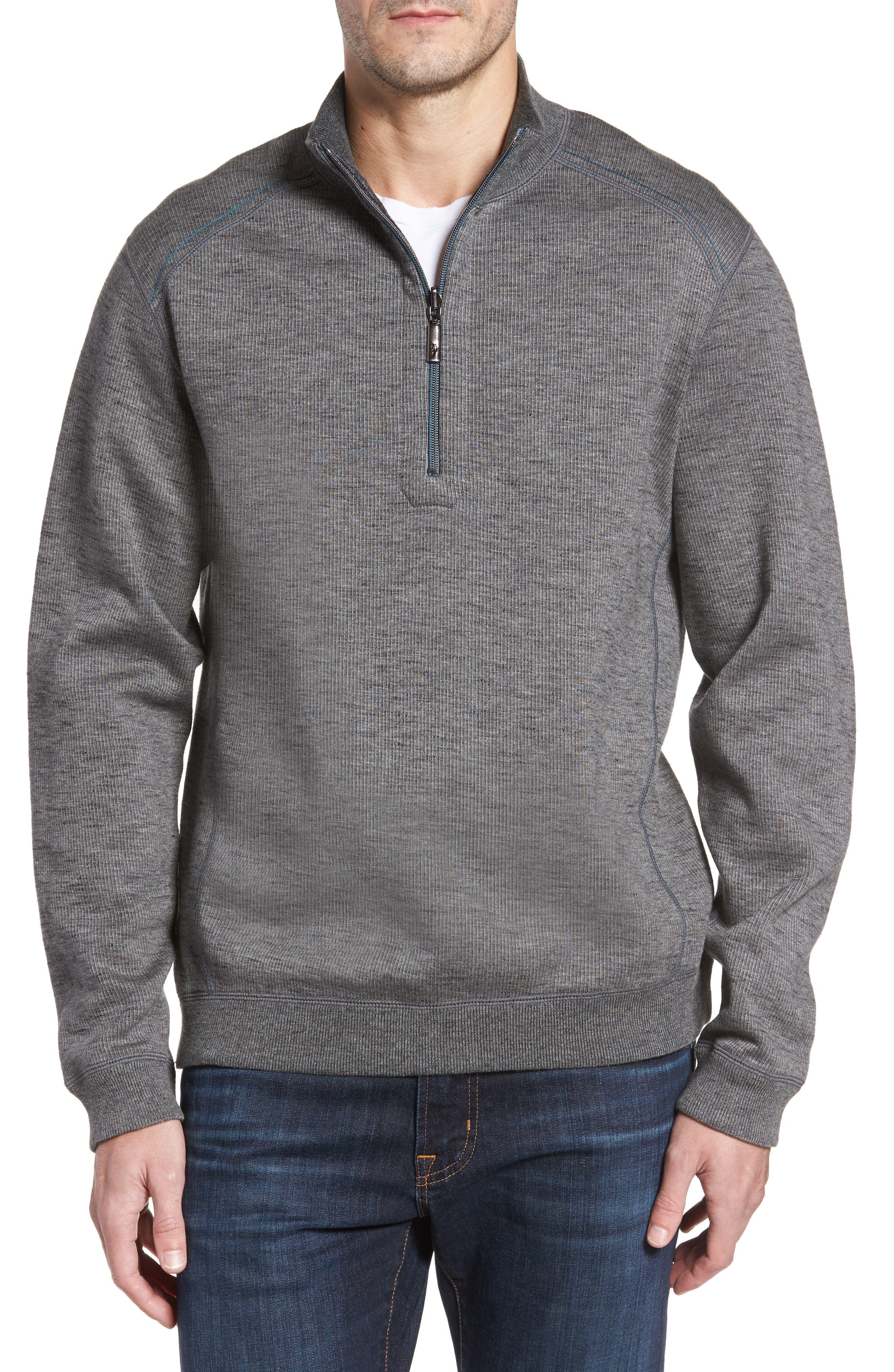 Alternate Image 1 Selected - Tommy Bahama Flipsider Half Zip Reversible Sweatshirt