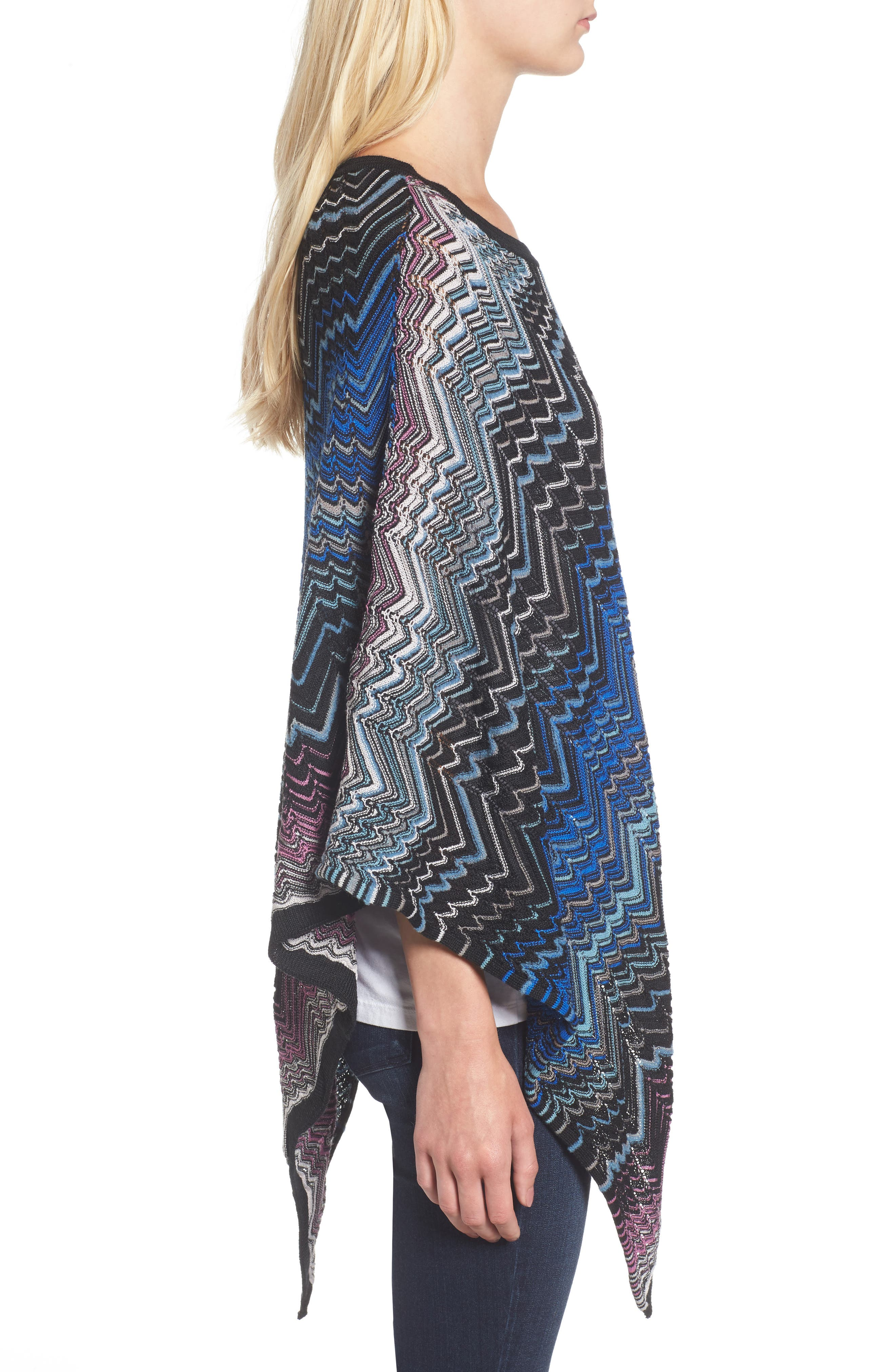 Zigzag Poncho,                             Alternate thumbnail 3, color,                             Blue