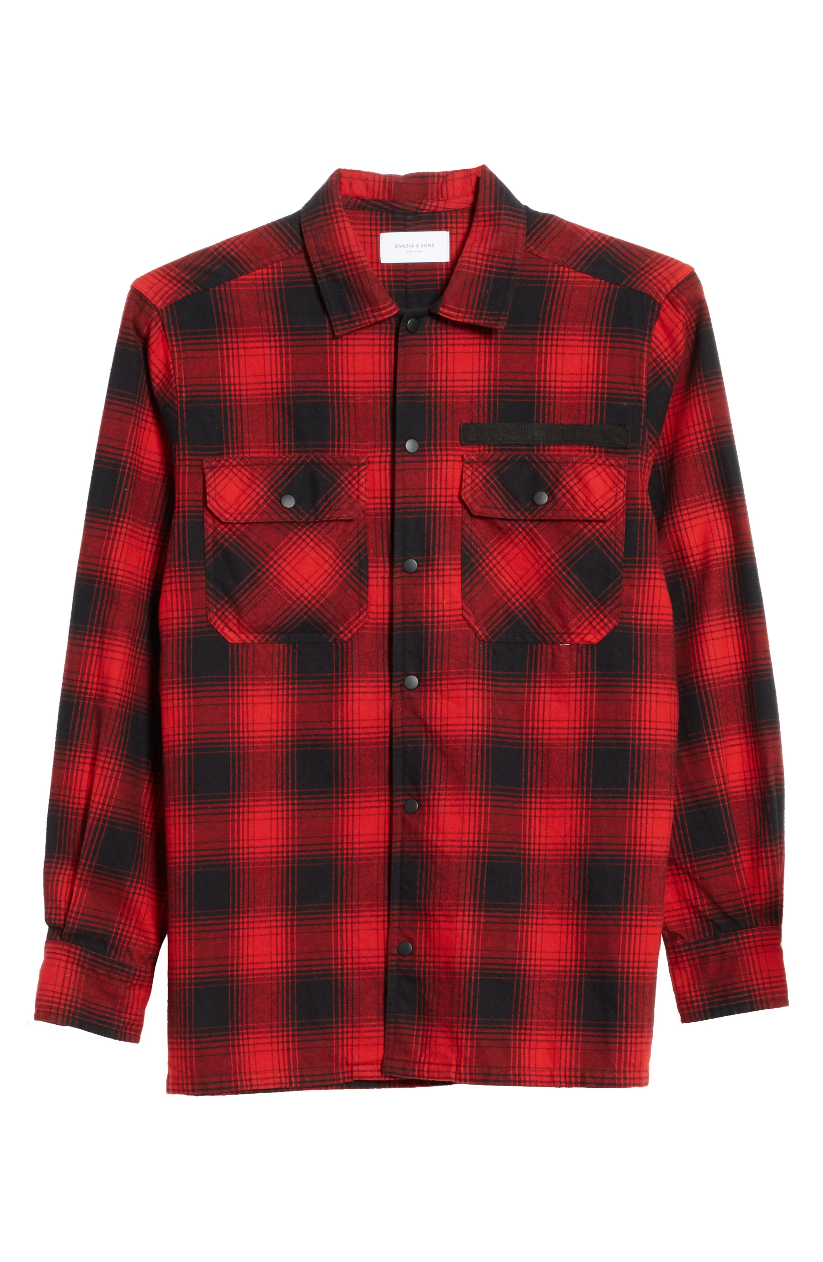 Plaid Flannel Shirt,                             Alternate thumbnail 6, color,                             Red Plaid