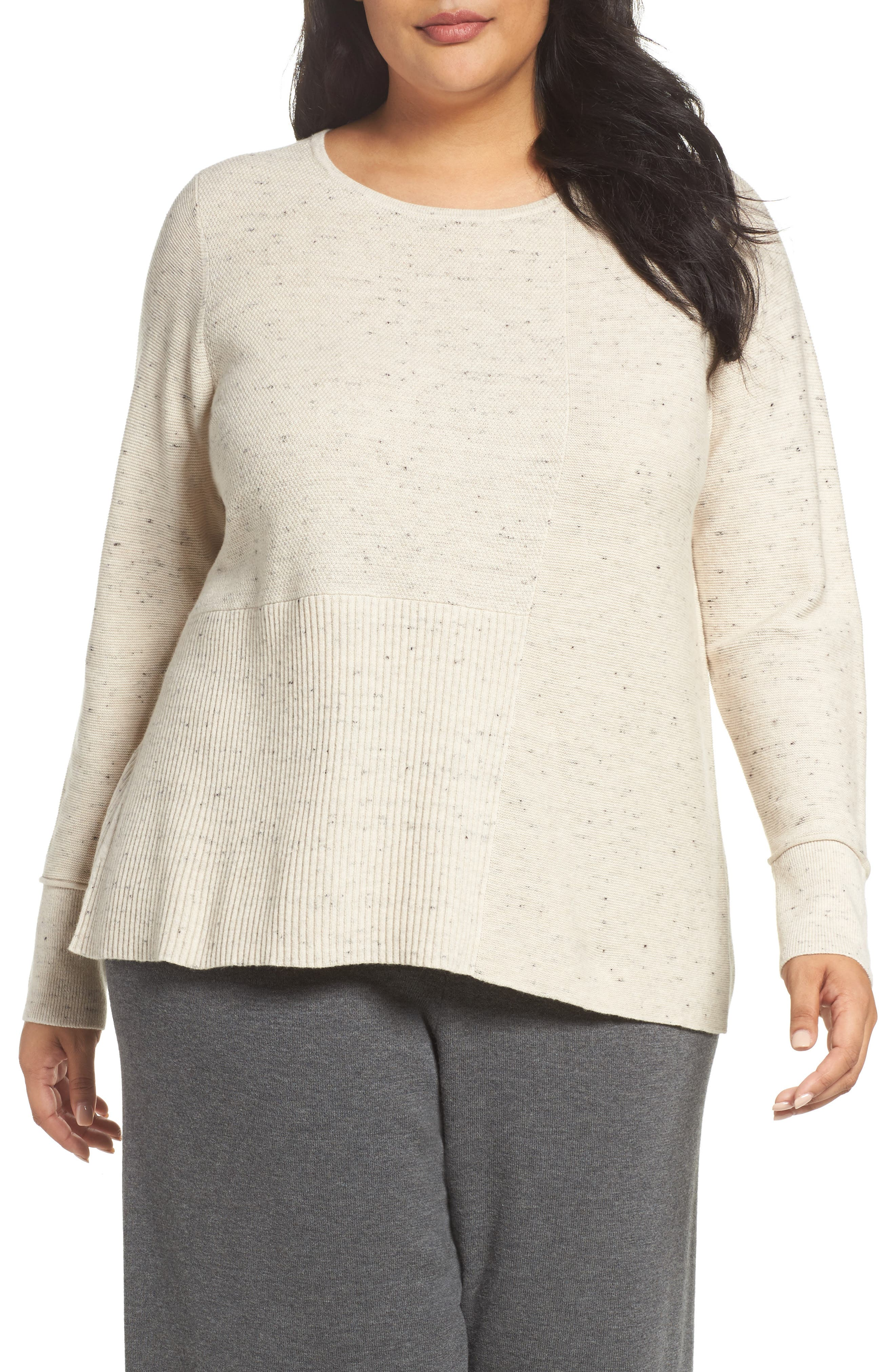 Eileen Fisher Mixed Stitch Sweater (Plus Size)