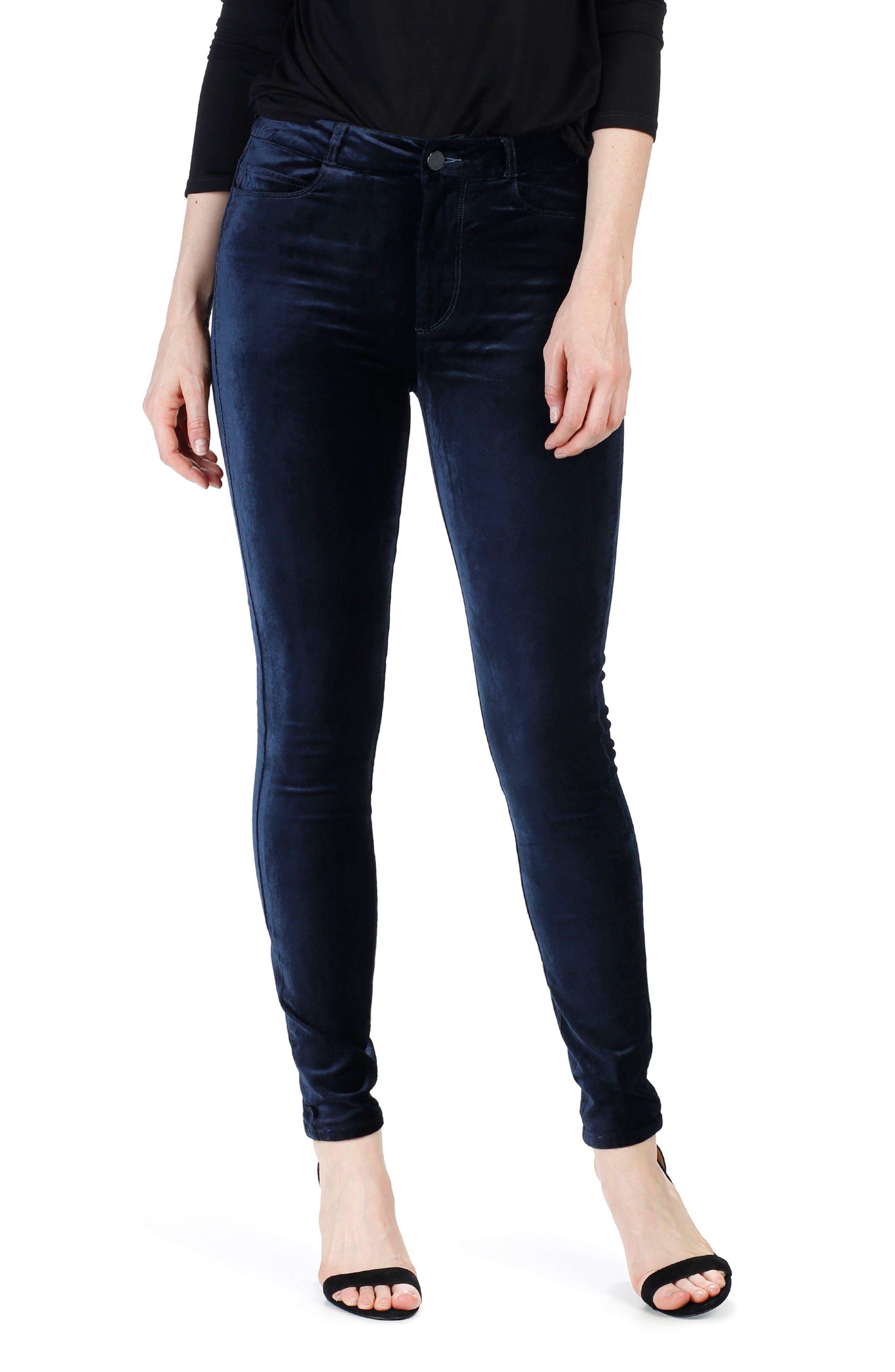 Main Image - PAIGE Hoxton Velvet Skinny Jeans (Deep Navy)