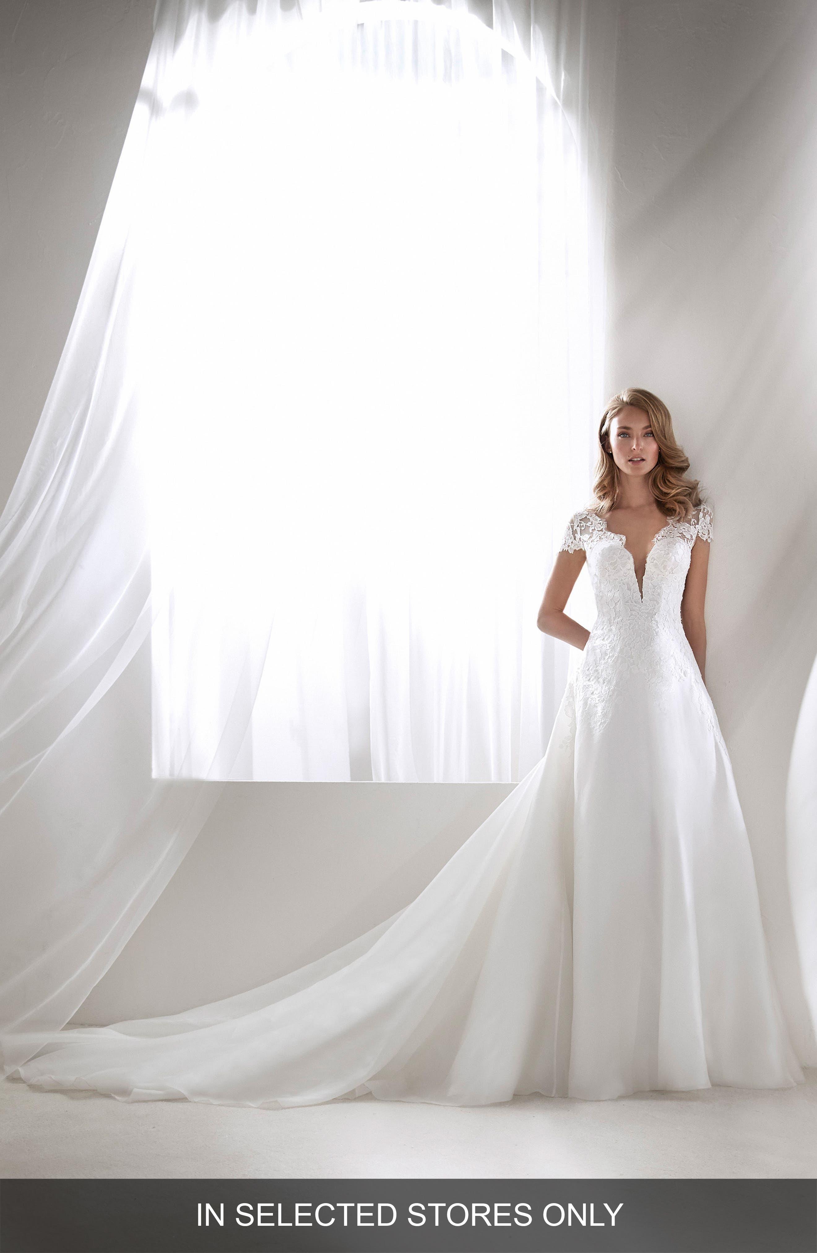 Rivera Plunging Lace Bodice Ballgown,                         Main,                         color, Off White
