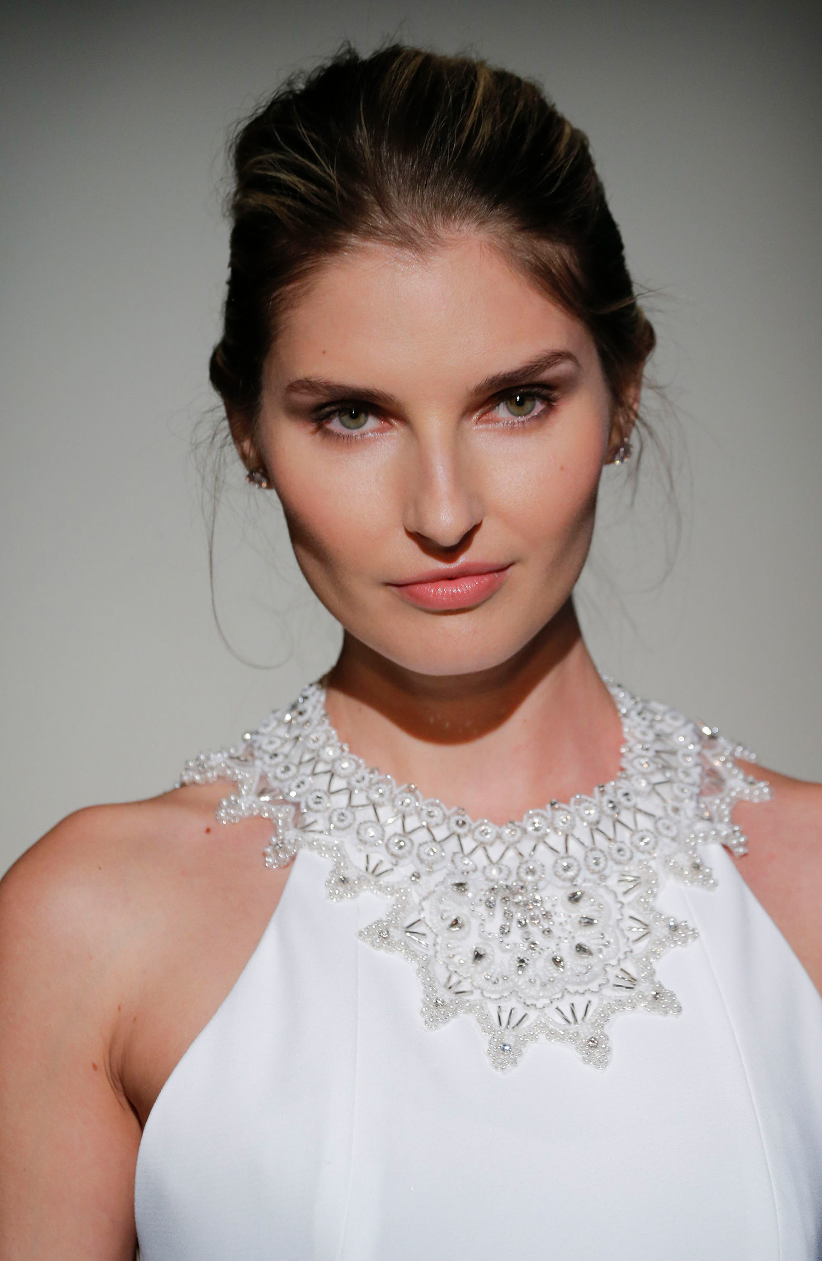 Senet Embellished Open Back Cady Gown,                             Alternate thumbnail 4, color,                             White