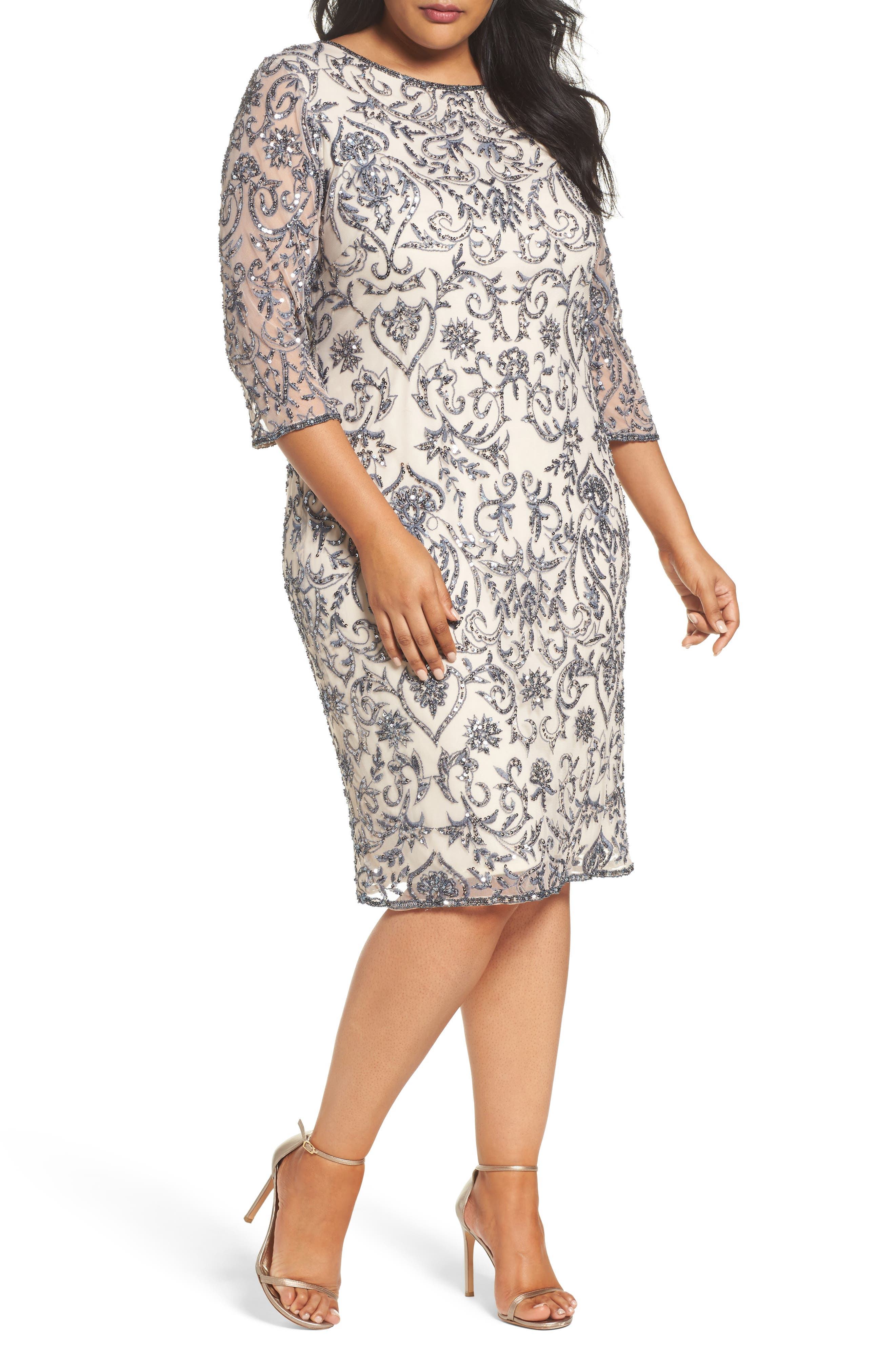 Main Image - Pisarro Nights Sequin Embroidered Sheath Dress (Plus Size)