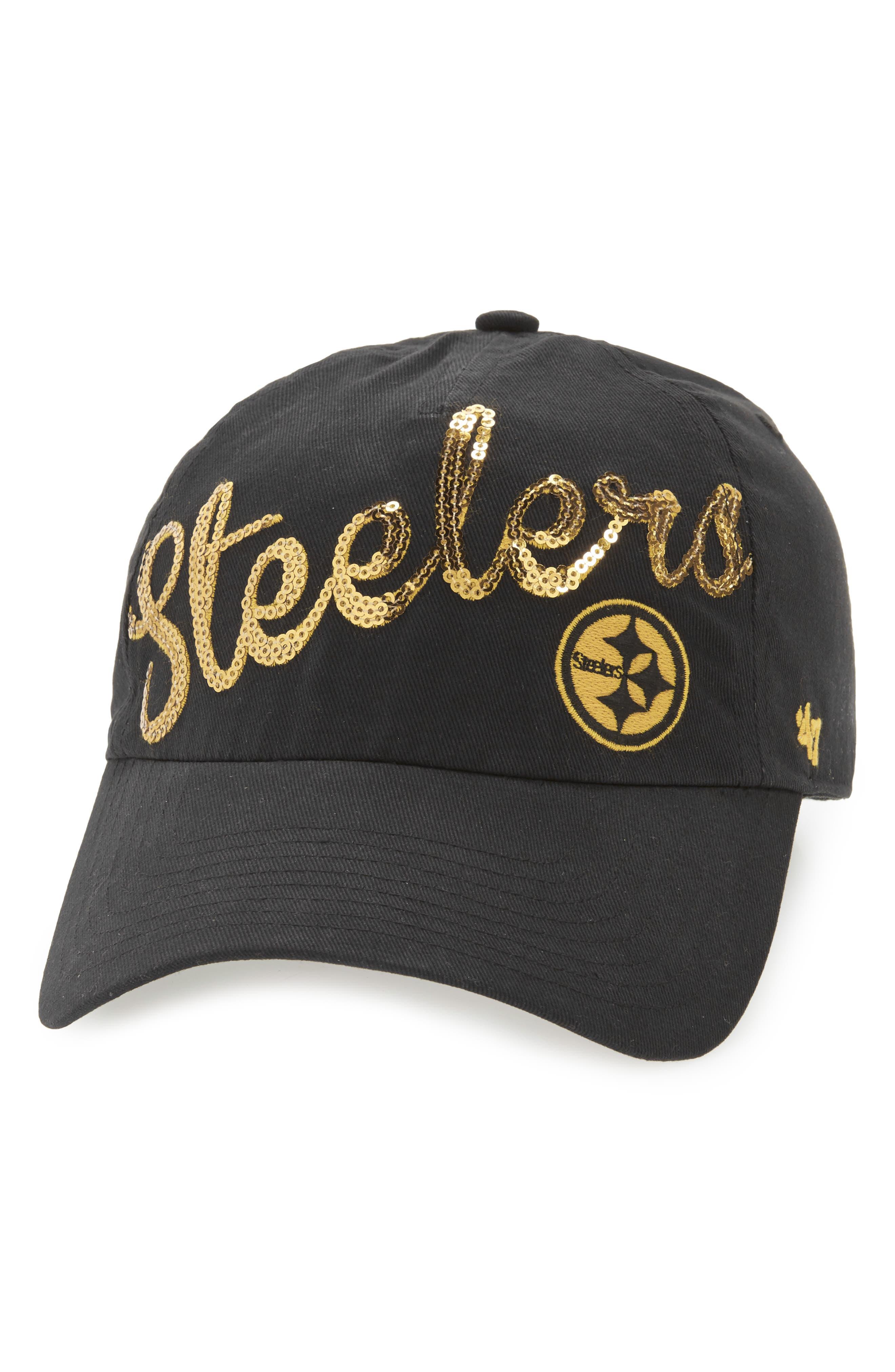 Pittsburgh Steelers Sparkle Cap,                             Main thumbnail 1, color,                             Black