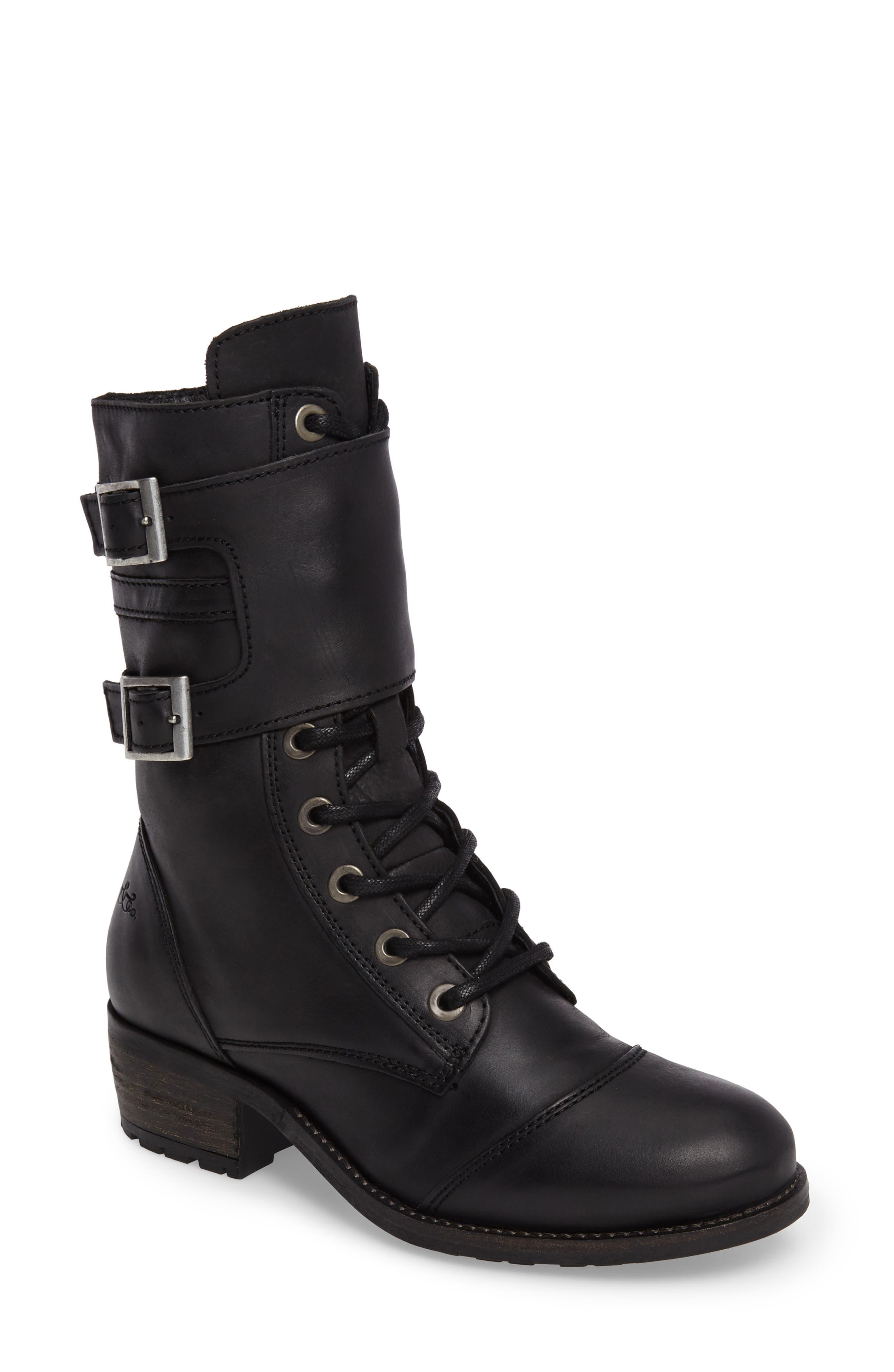 Lune Waterproof Moto Boot,                             Main thumbnail 1, color,                             Black Varese Leather