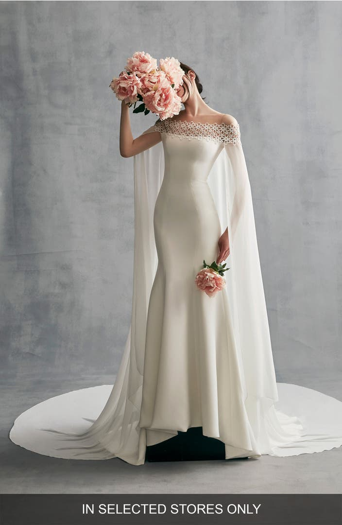 Ines by ines di santo danica off the shoulder gown with for Wedding dresses near me now
