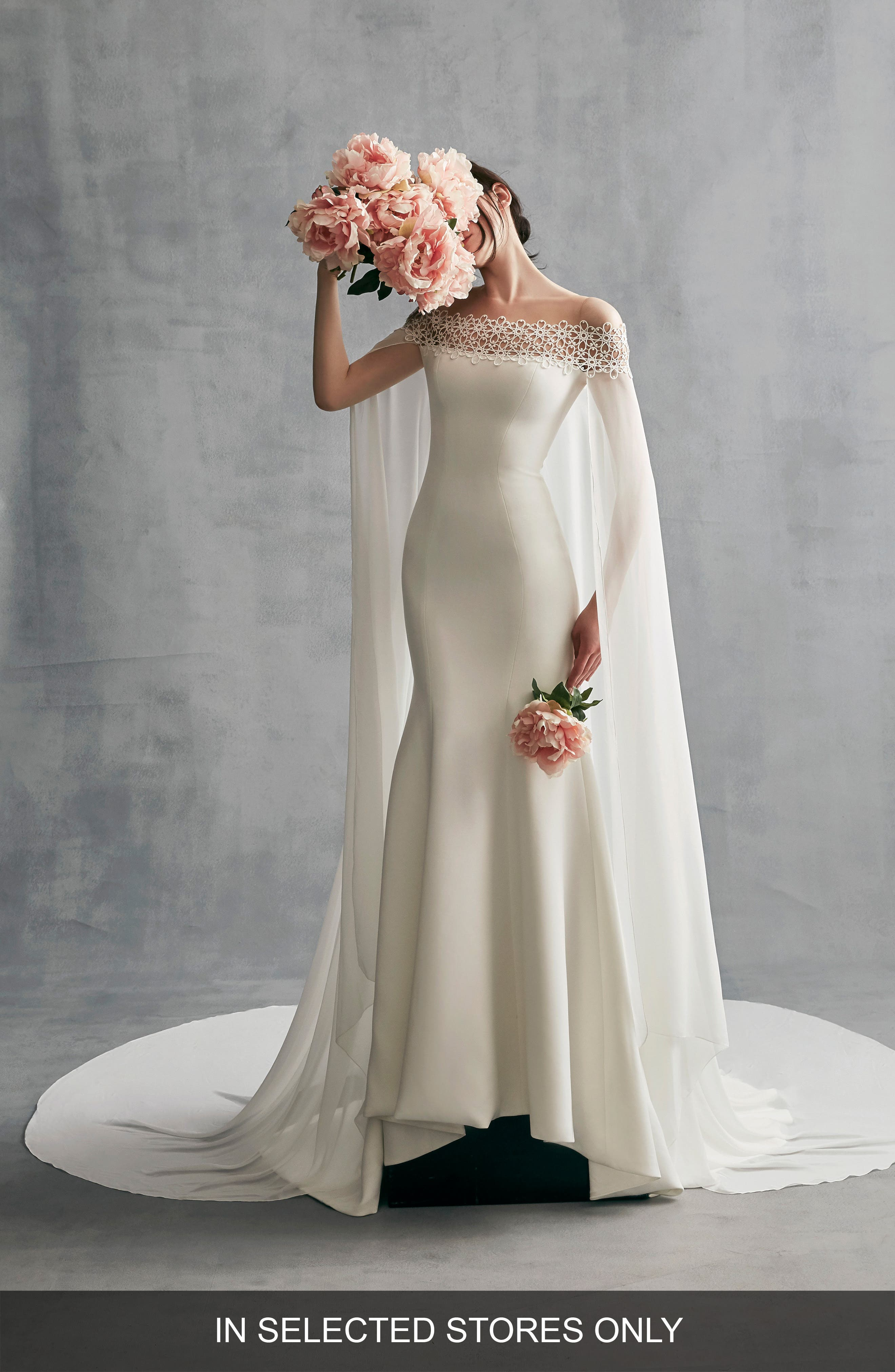 Ines by Ines Di Santo Danica Off the Shoulder Gown with Cape (In Selected Stores Only)