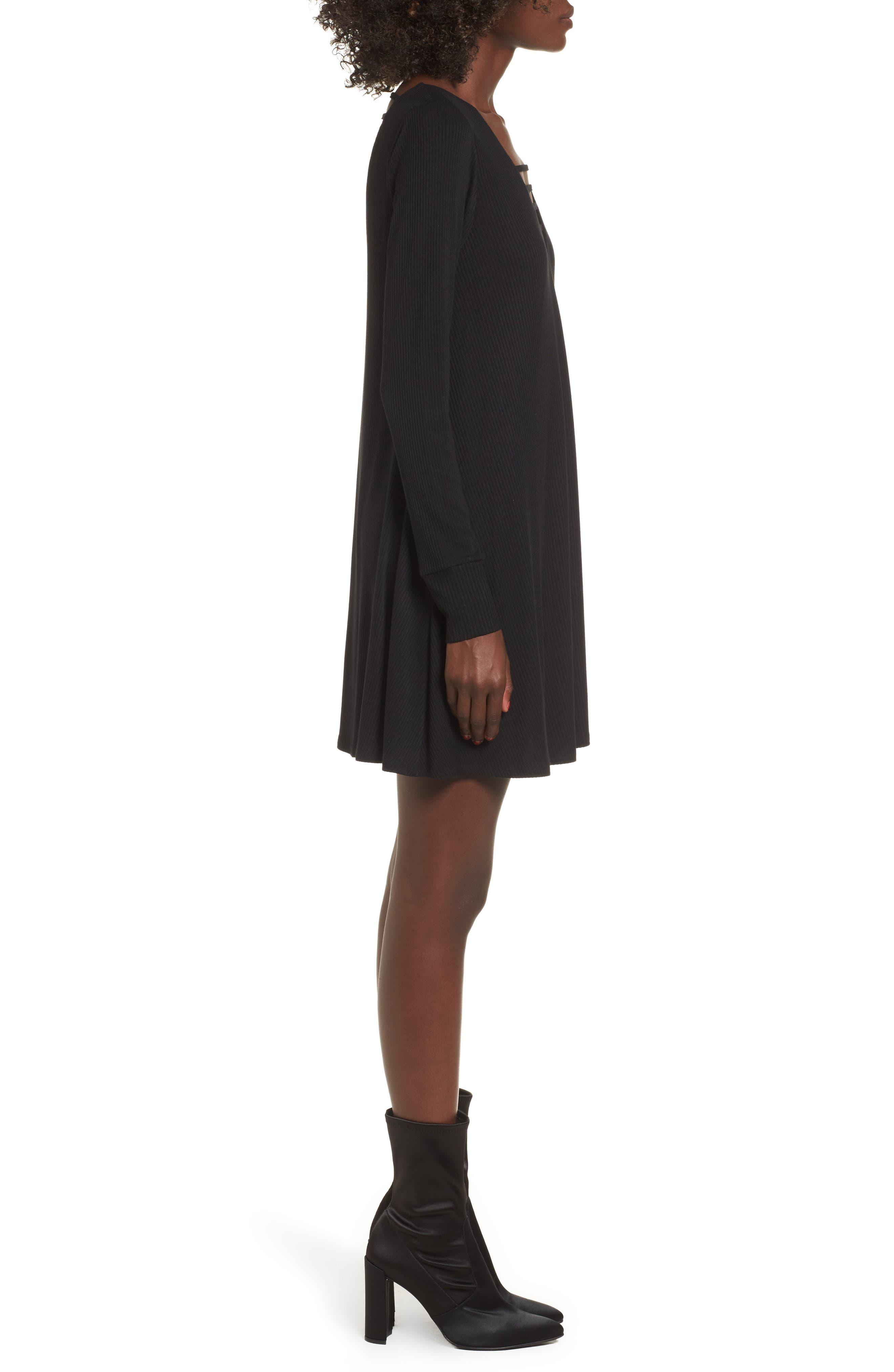 Strappy Swing Dress,                             Alternate thumbnail 3, color,                             Black