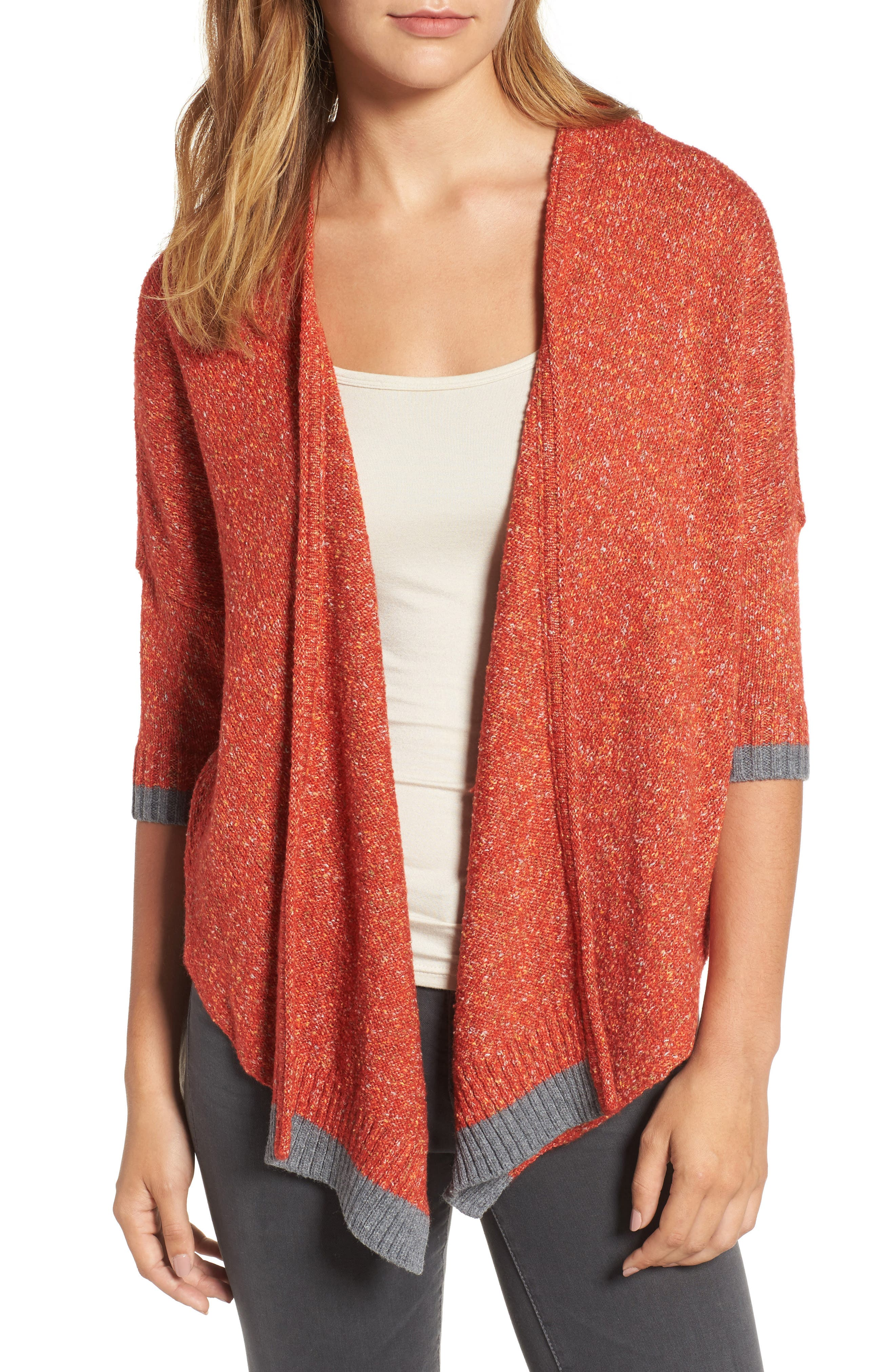 Open Front Knit Cardigan,                         Main,                         color, Copper Red