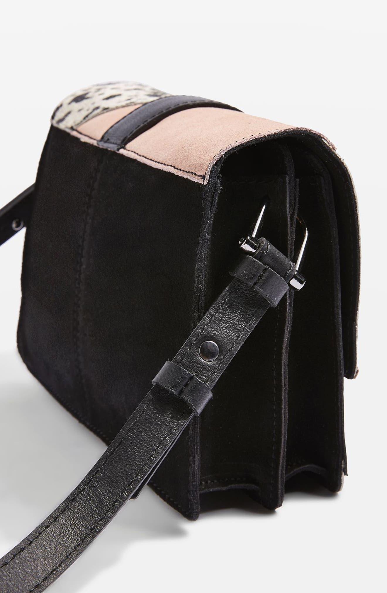 Premium Leather & Genuine Calf Hair Patchwork Crossbody Bag,                             Alternate thumbnail 3, color,                             Black Multi