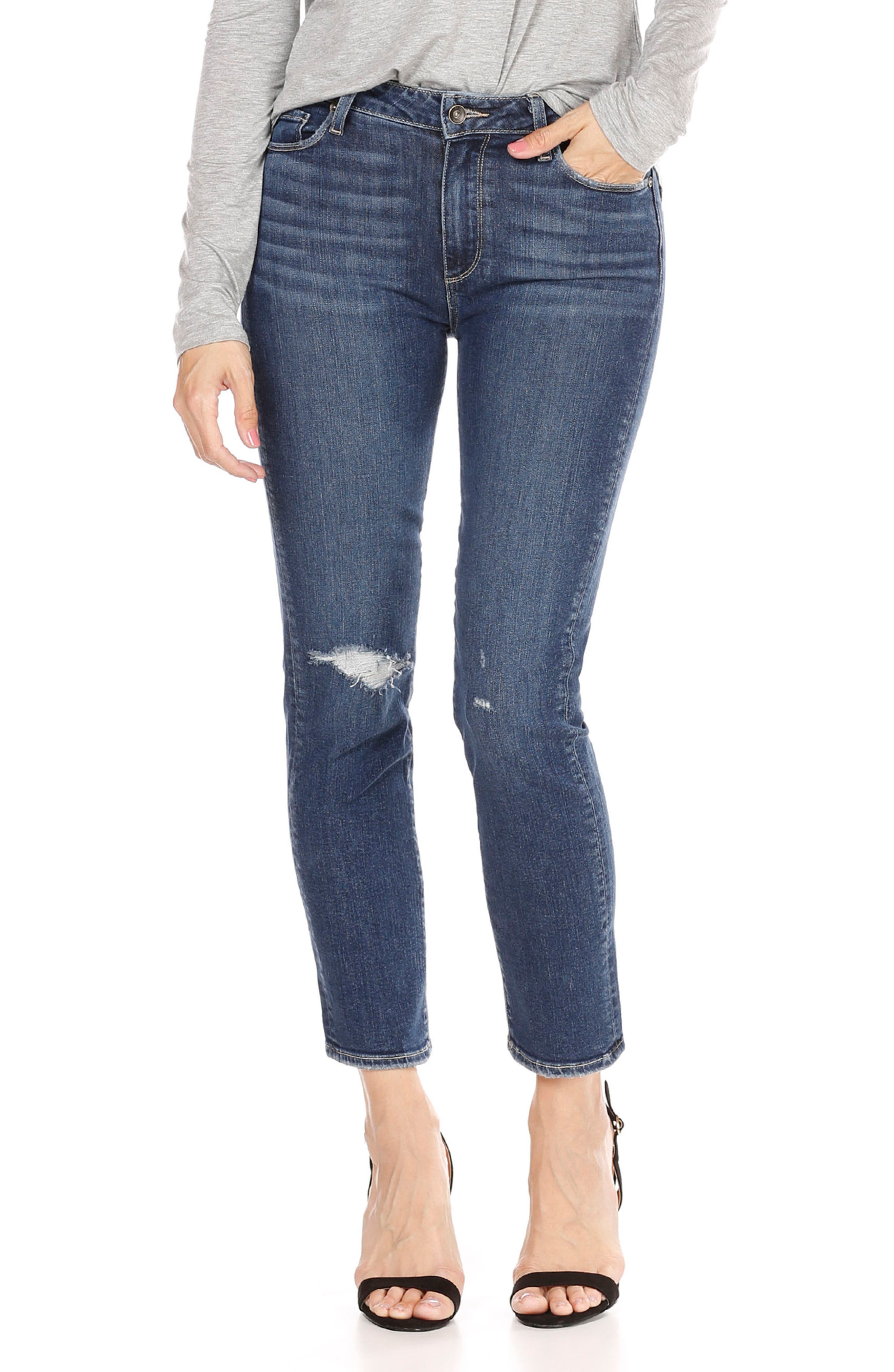 Alternate Image 1 Selected - PAIGE Jacqueline High Waist Crop Straight Leg Jeans (Addax Destructed)