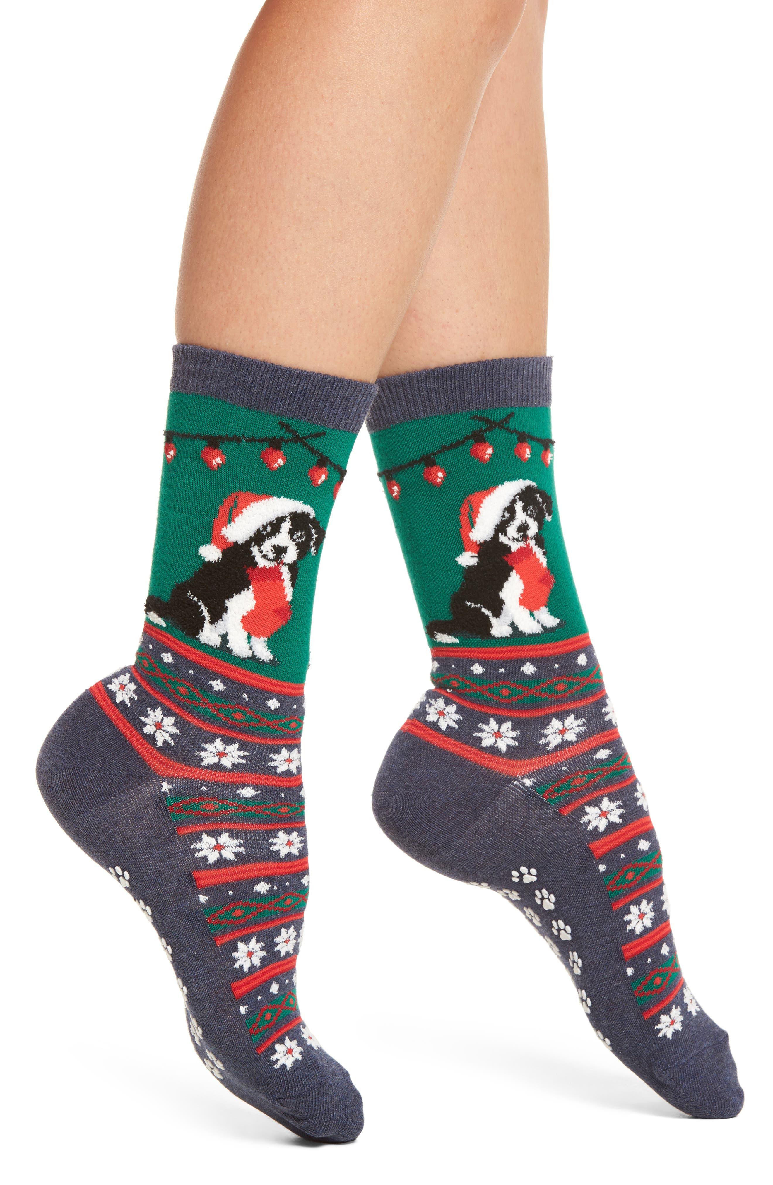 Hot Sox Christmas Border Collie Nonskid Socks (3 for $15)