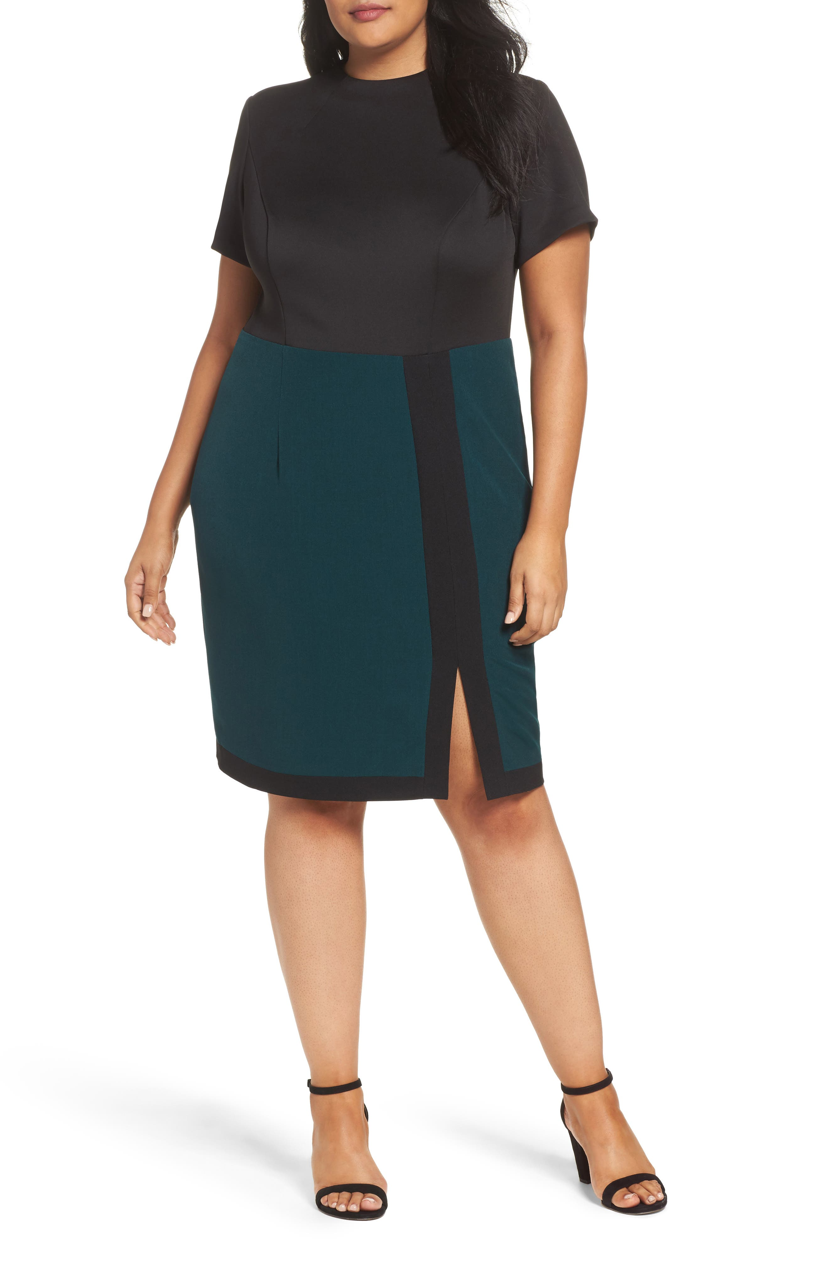 Adrianna Papell Scuba & Crepe Sheath Dress (Plus Size)
