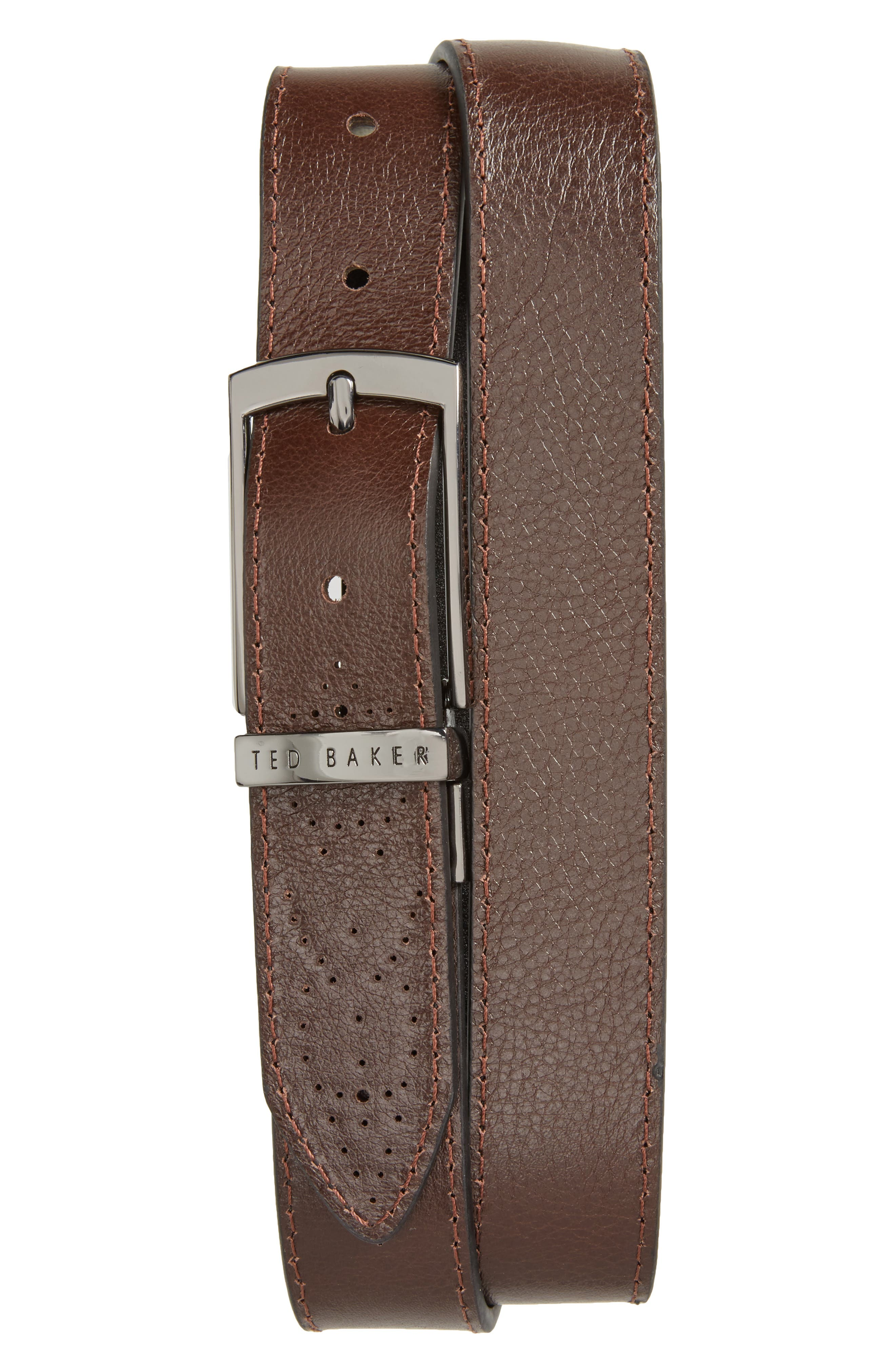 Boxwood Leather Belt,                             Alternate thumbnail 2, color,                             Black/Brown