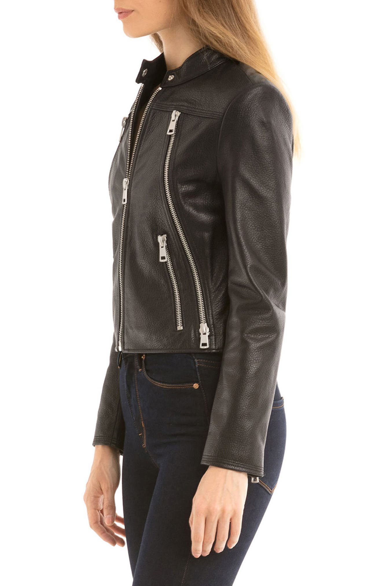 Alternate Image 3  - Bagatelle Textured Leather Jacket