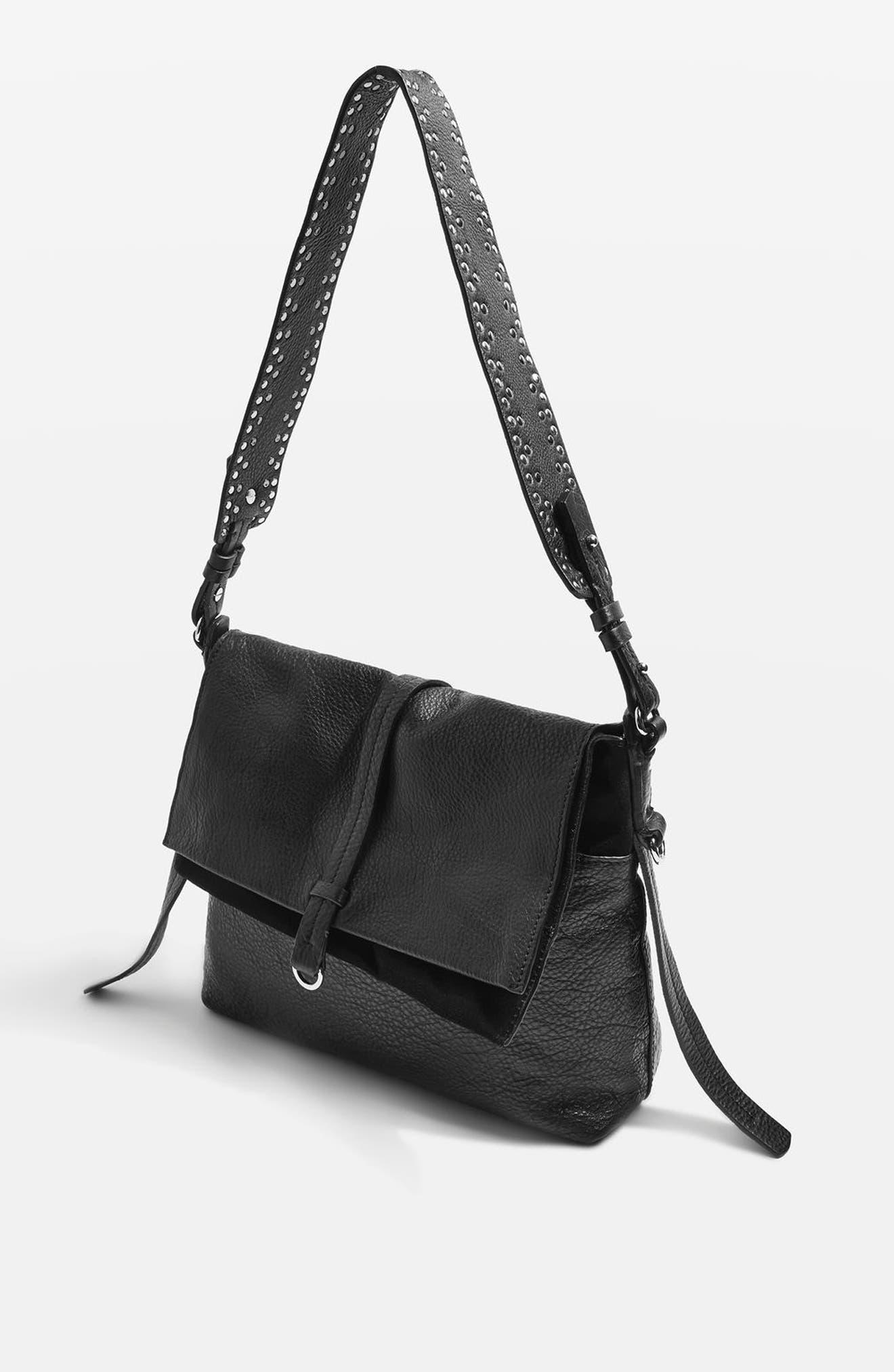 Premium Leather Studded Calfskin Hobo Bag,                             Alternate thumbnail 4, color,                             Black