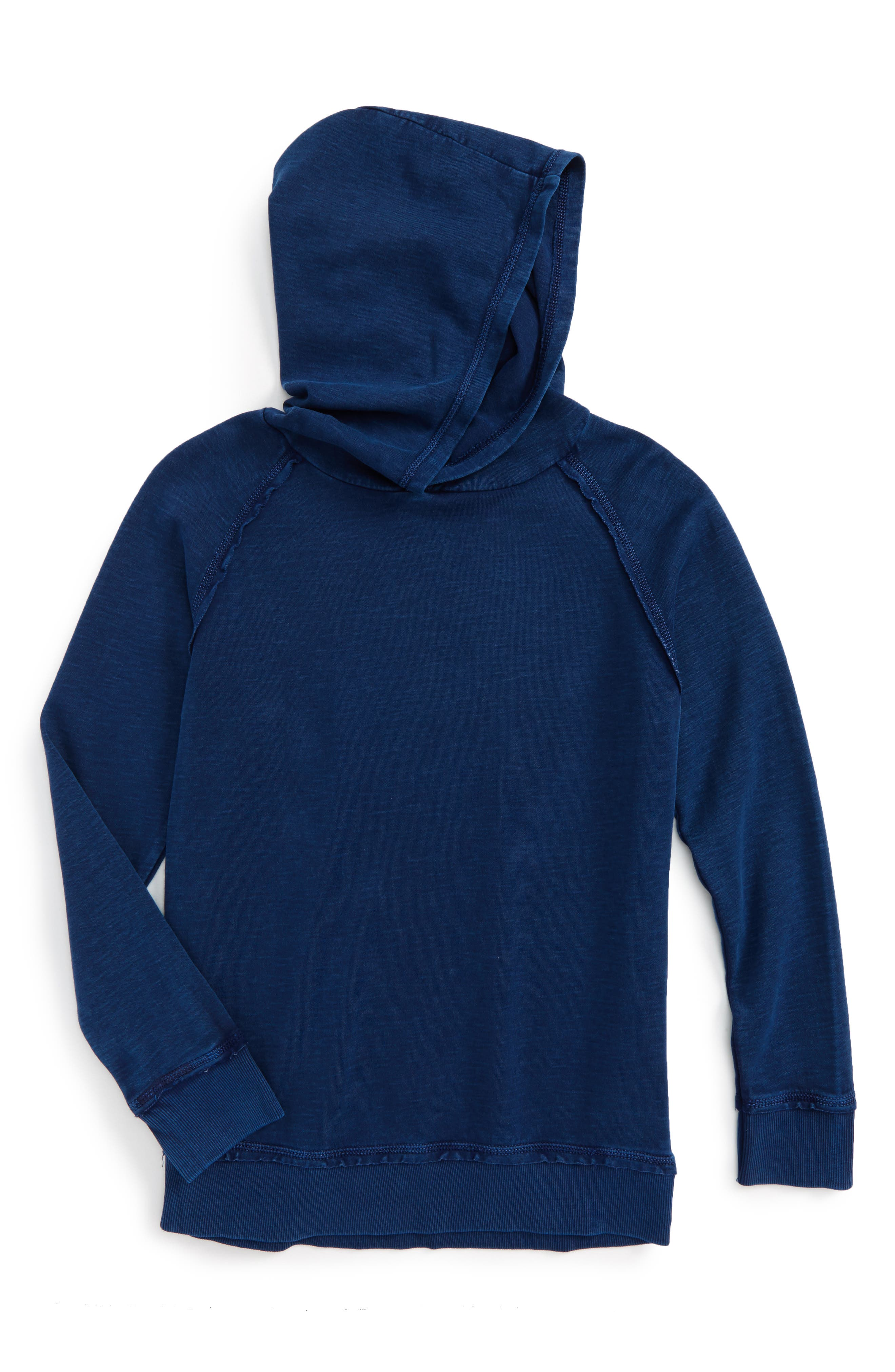 Mineral Wash Pullover Hoodie,                         Main,                         color, Blue Estate
