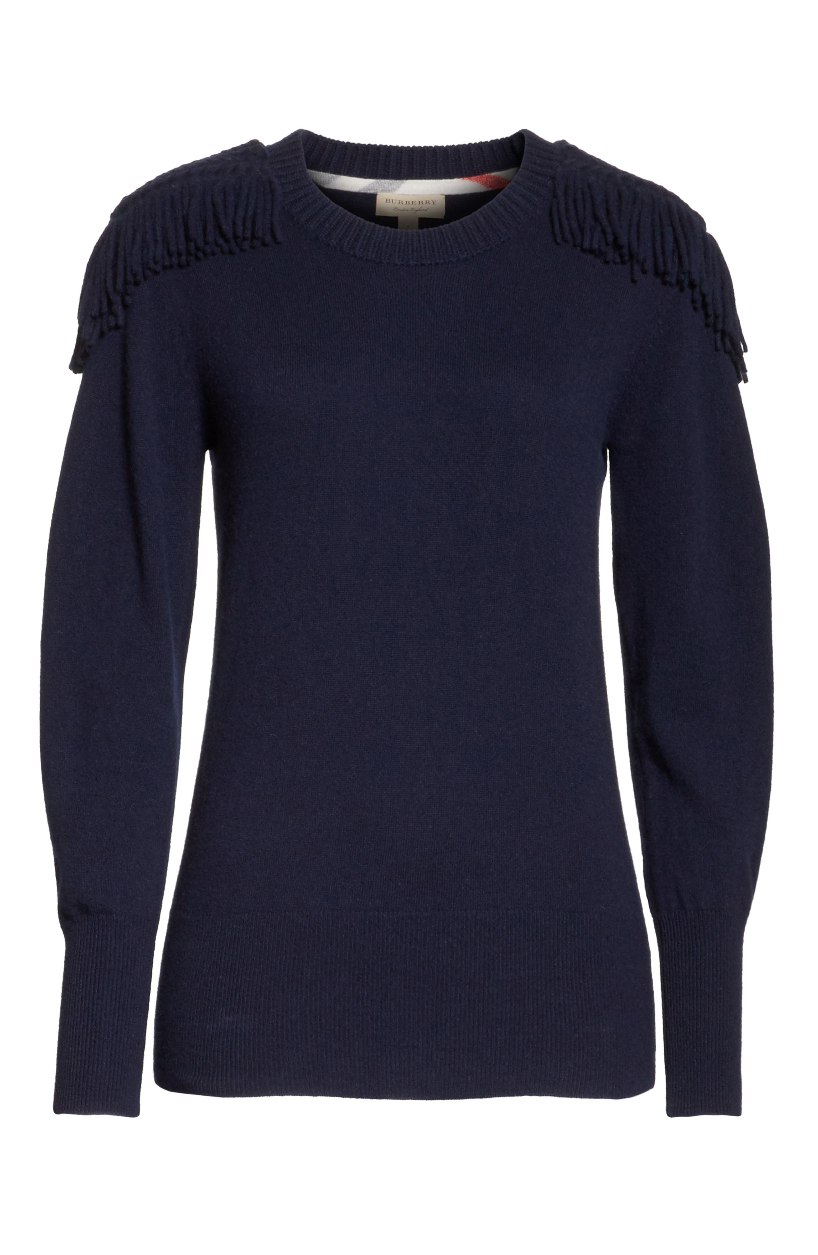 Alternate Image 6  - Burberry Livenza Wool & Cashmere Fringe Sweater