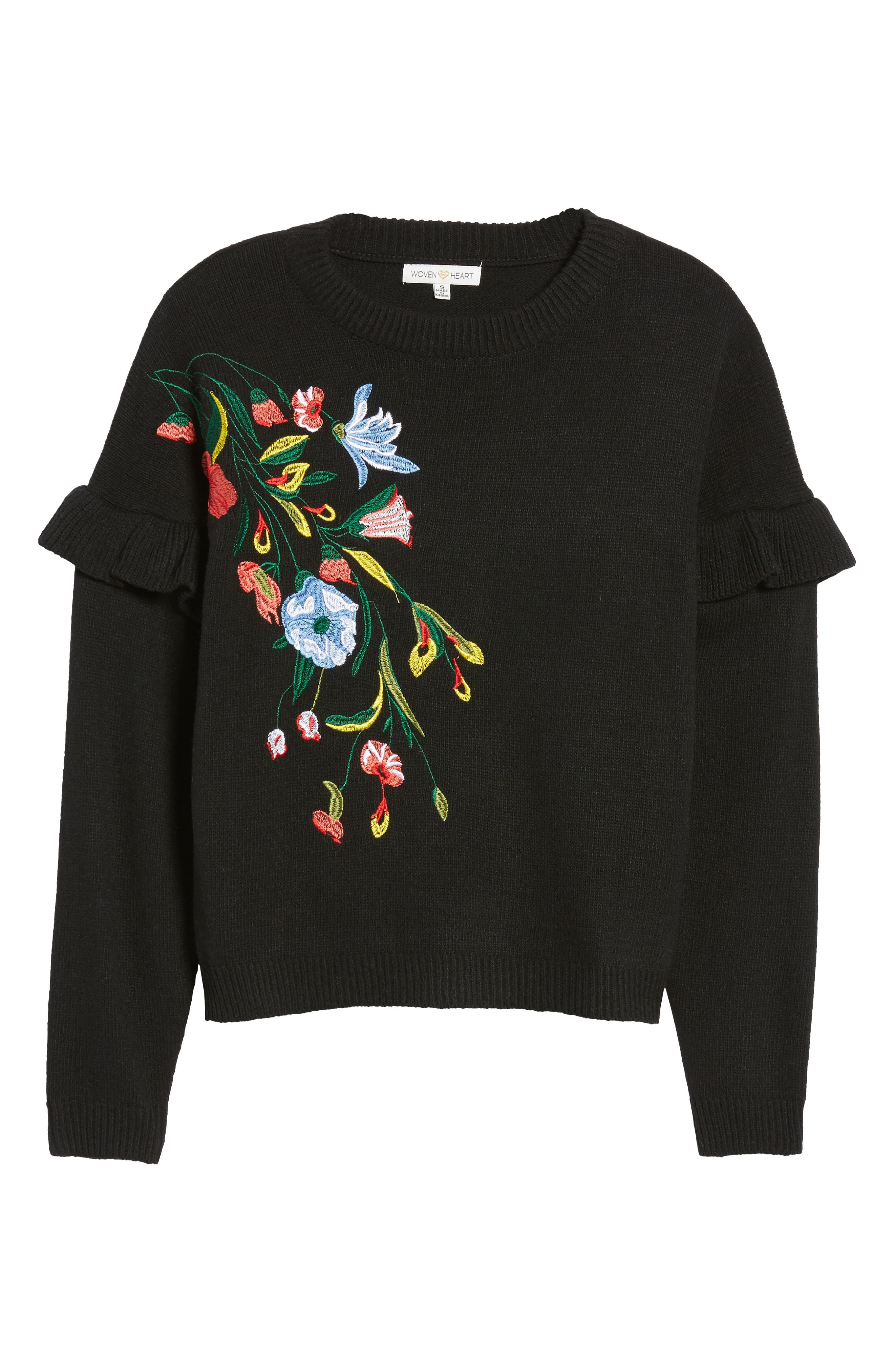 Alternate Image 6  - Woven Heart Ruffle Sleeve Embroidered Sweater