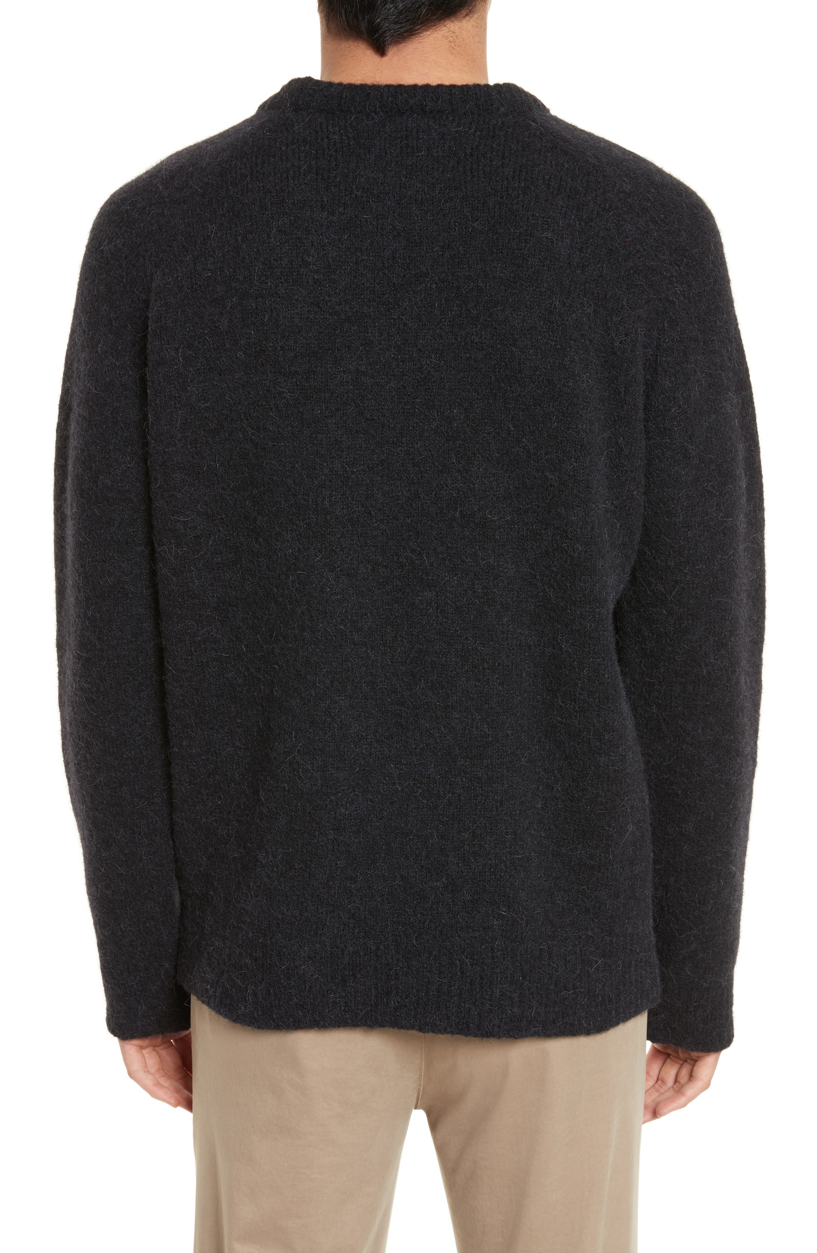 Wool Blend Crewneck Sweater,                             Alternate thumbnail 2, color,                             Black