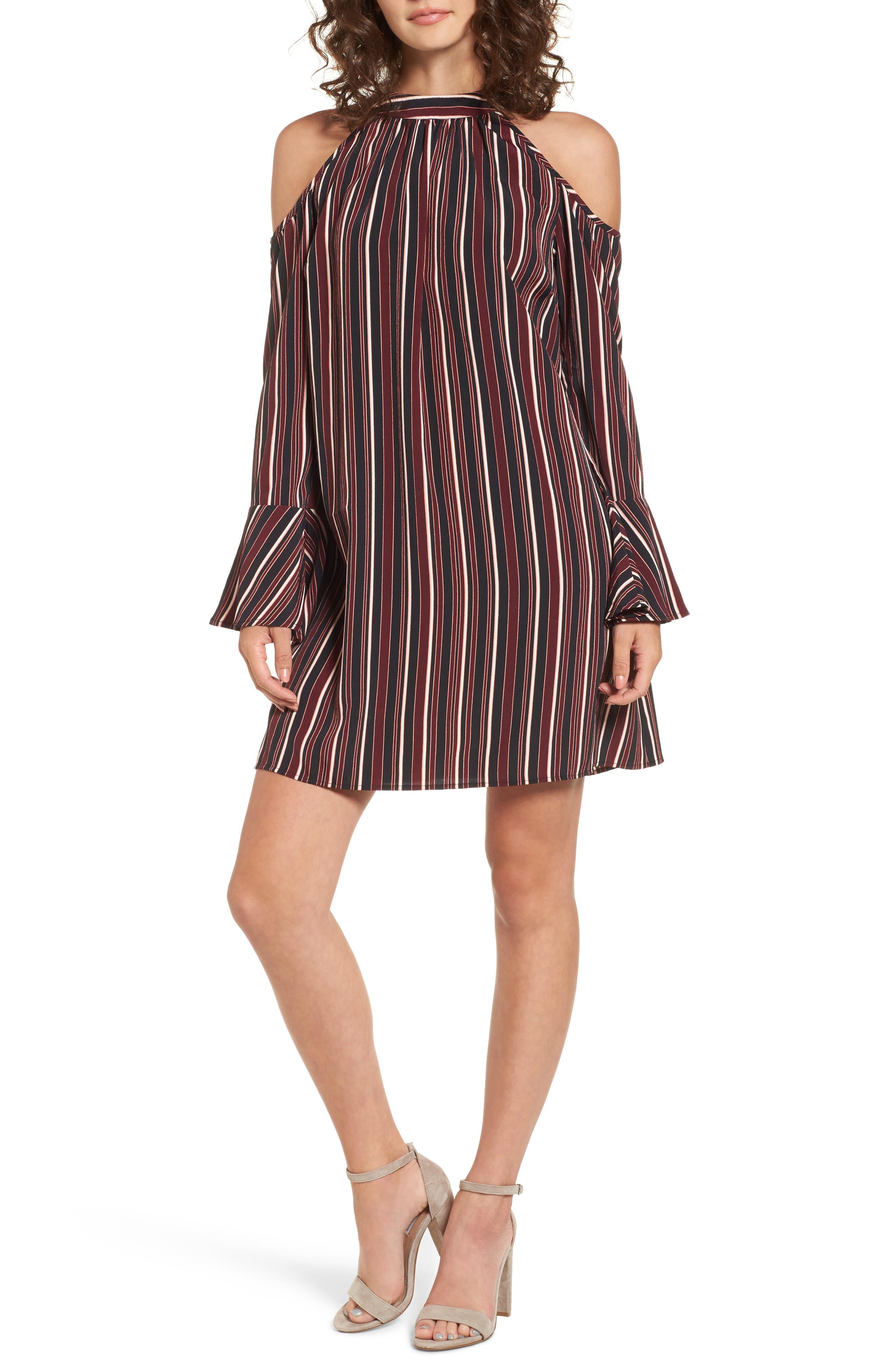 Main Image - Band of Gypsies Stripe Cold Shoulder Shift Dress