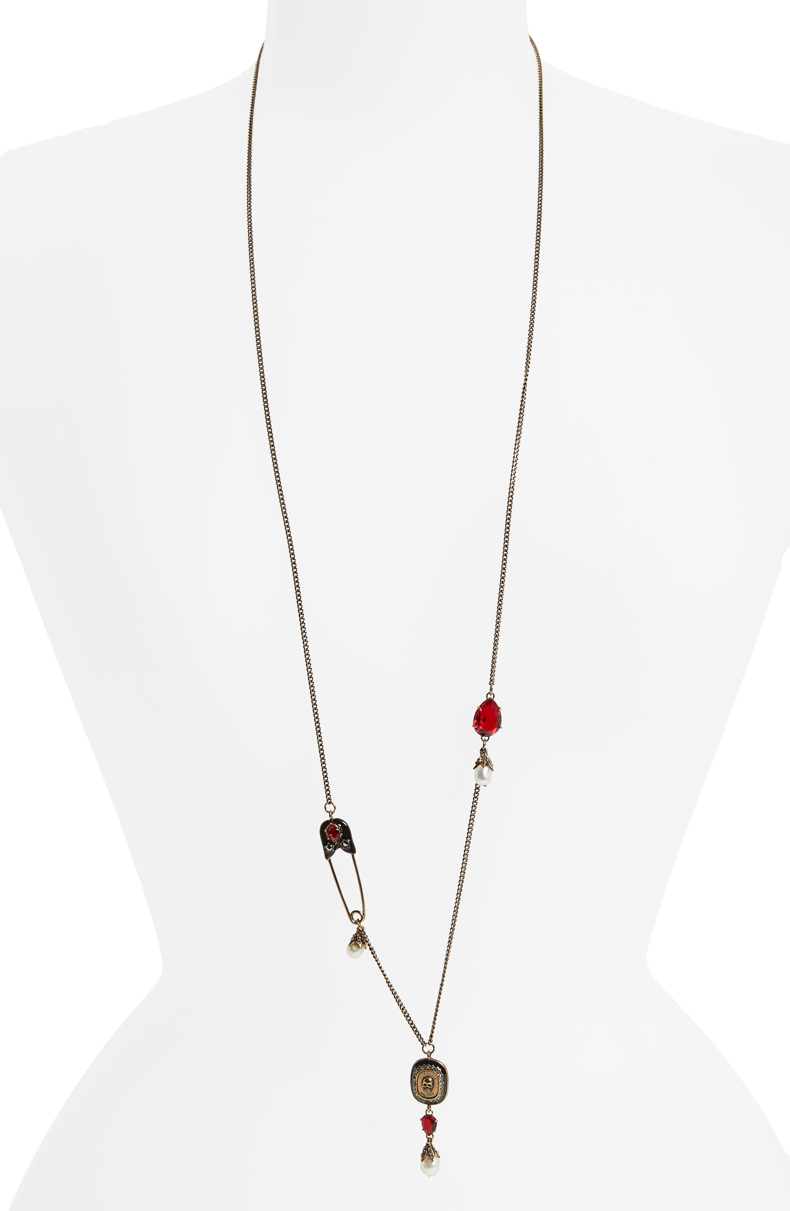 Pendant Necklace,                         Main,                         color, Siam/ Gold