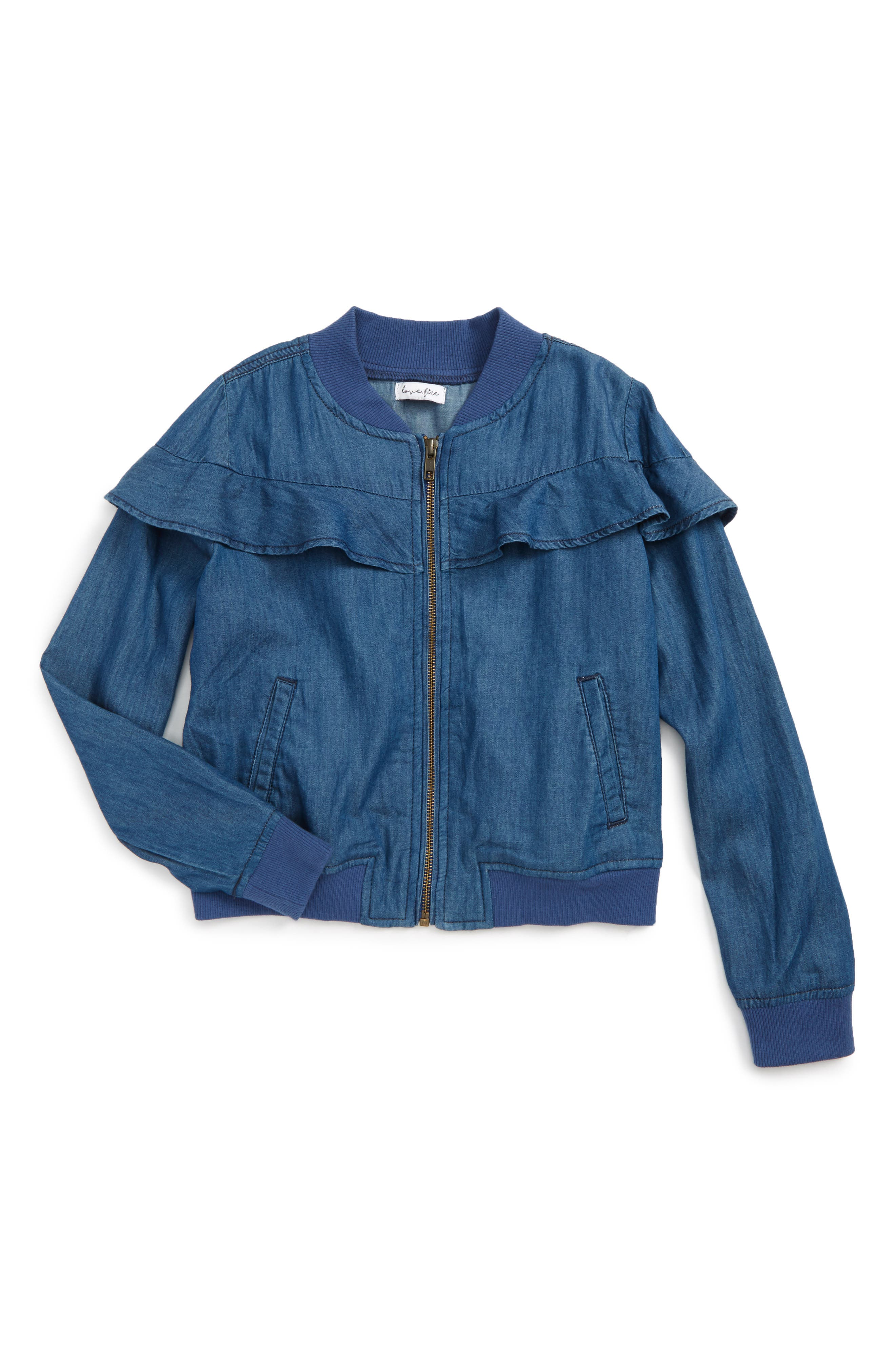 Alternate Image 1 Selected - Love, Fire Ruffle Denim Jacket (Big Girls)