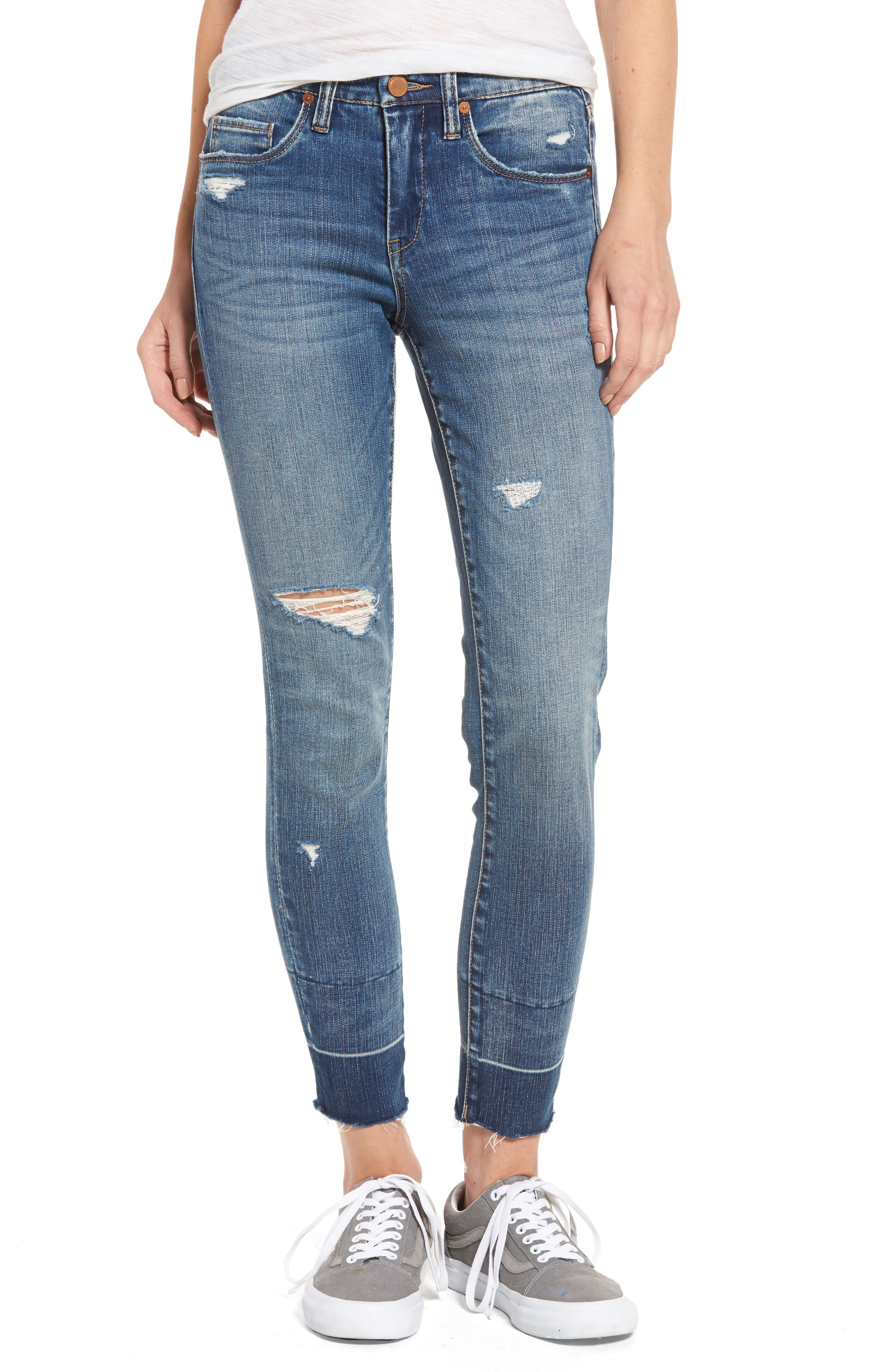 Ankle Skinny Jeans,                             Main thumbnail 1, color,                             Dark Wash