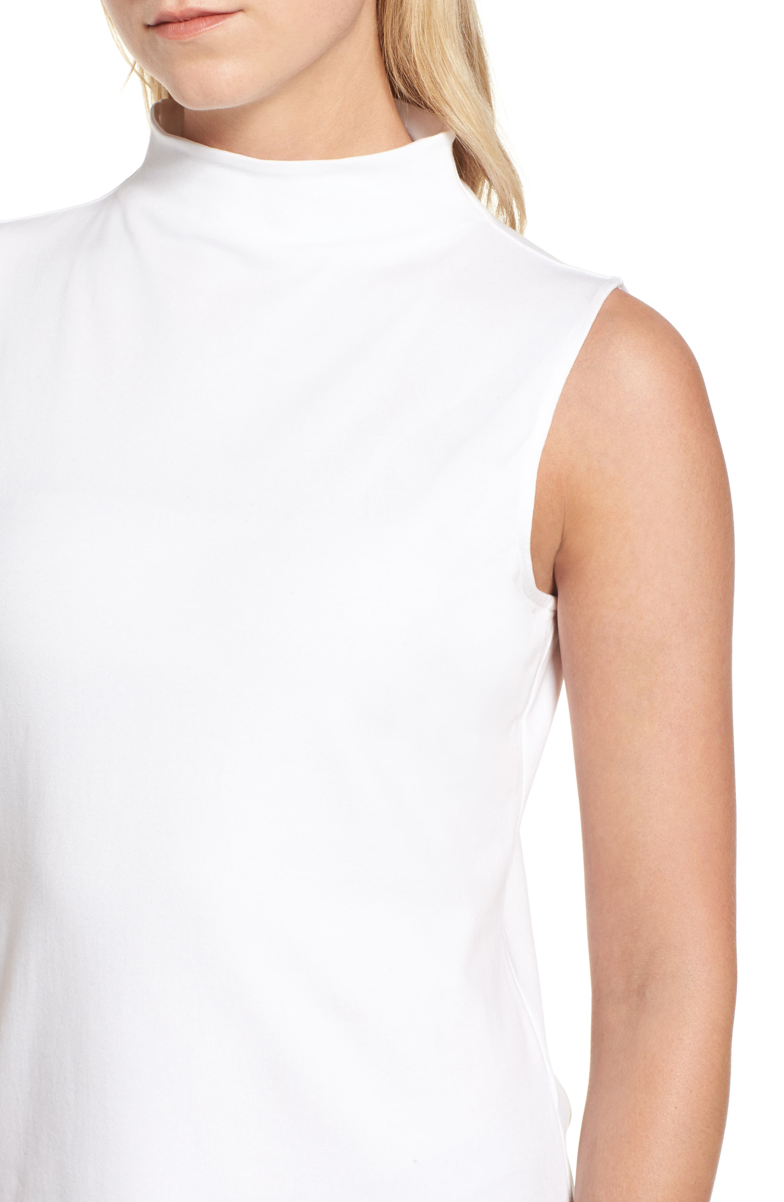 The Perfect Mock Neck Top,                             Alternate thumbnail 4, color,                             Paper White