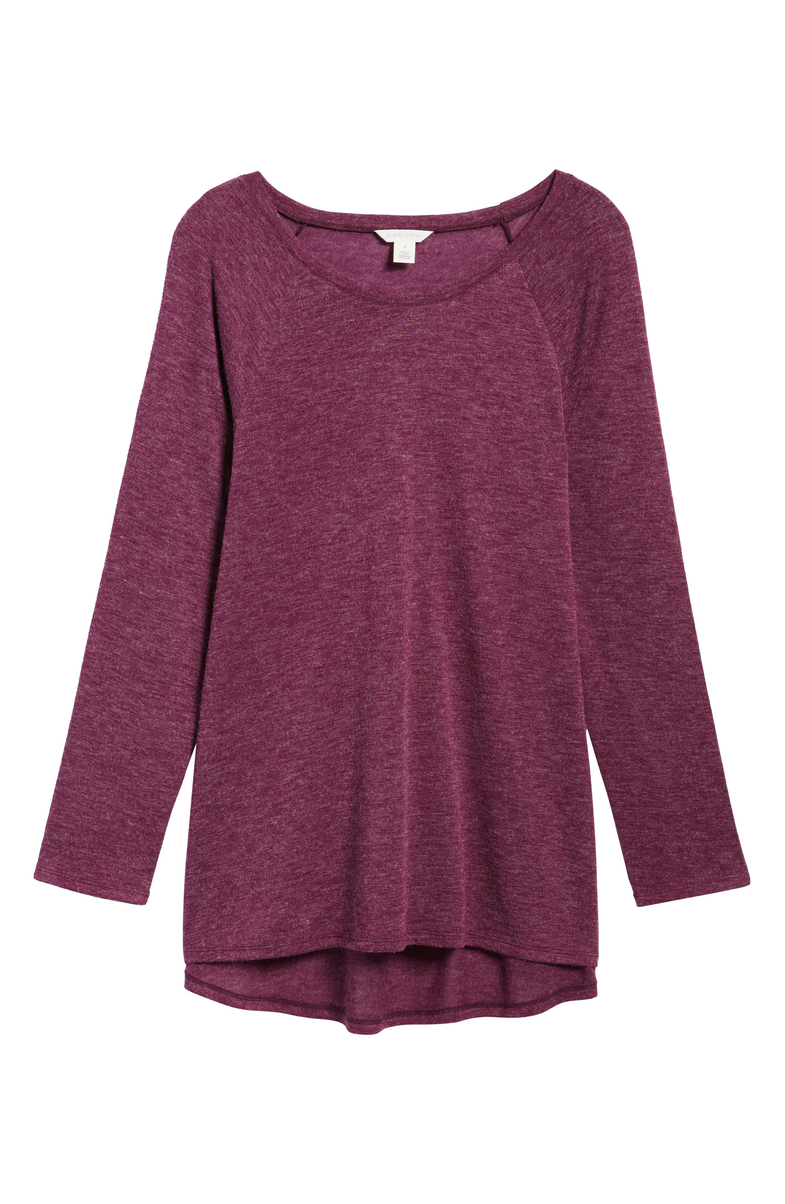 High/Low Tunic Sweatshirt,                             Alternate thumbnail 6, color,                             Mulberry