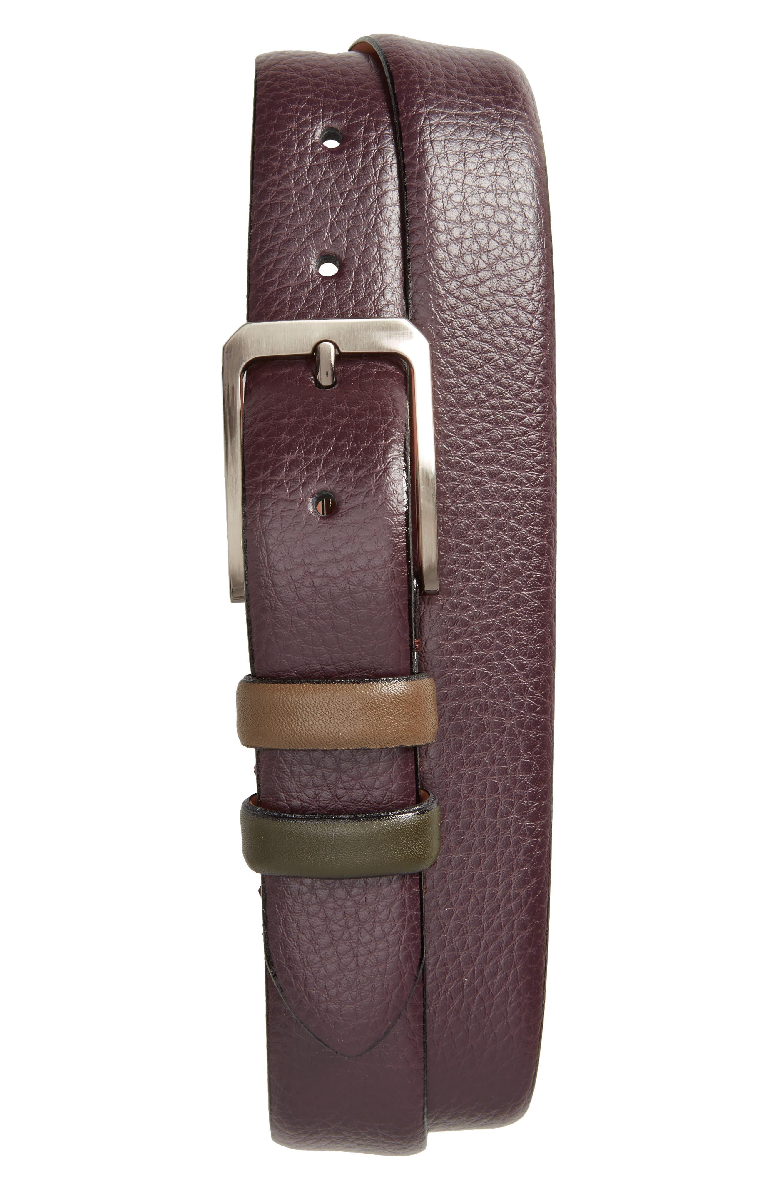Shrubs Leather Belt,                         Main,                         color, Deep Purple