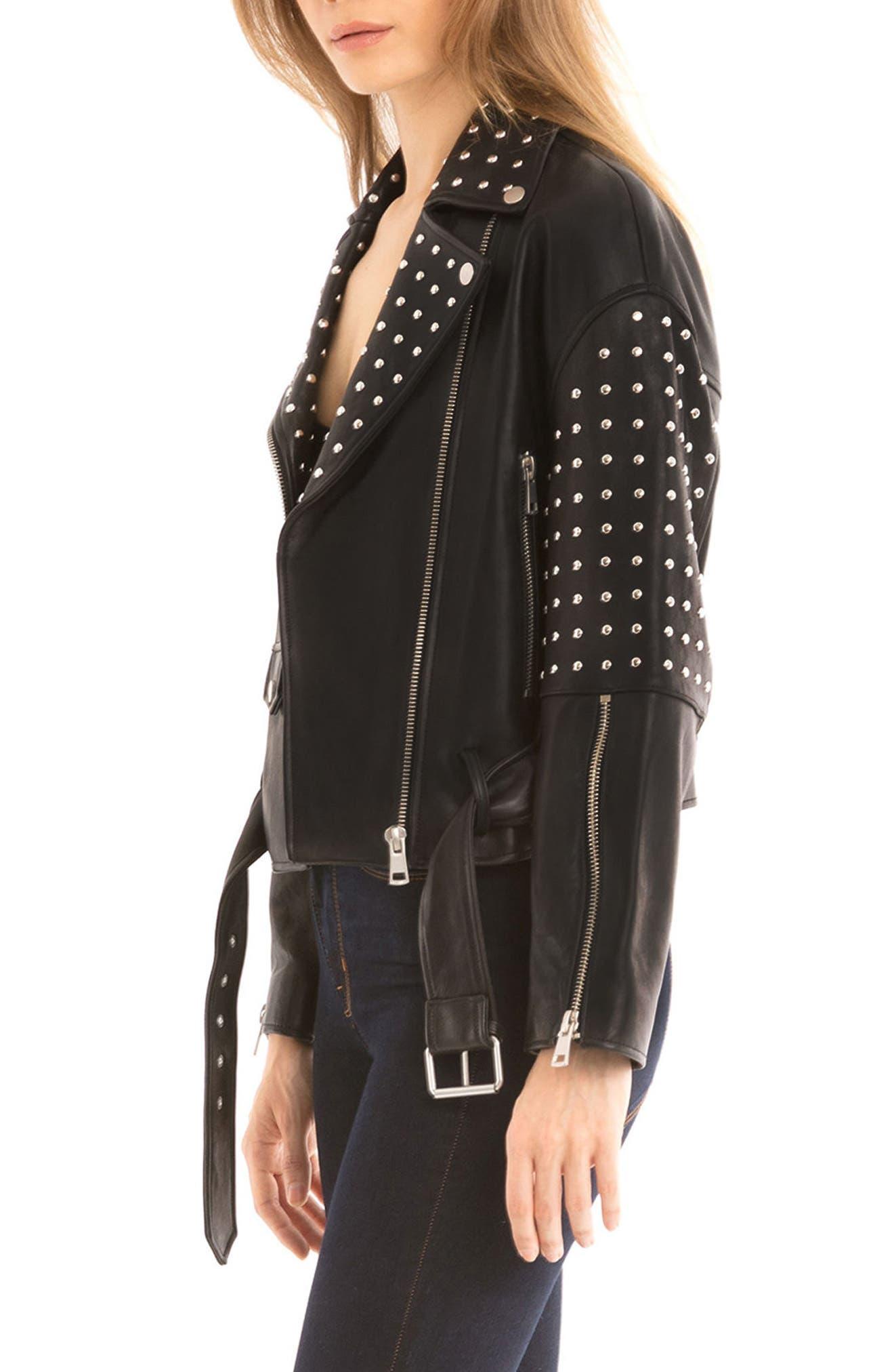 Bagatelle Studded Leather Jacket,                             Alternate thumbnail 3, color,                             Black