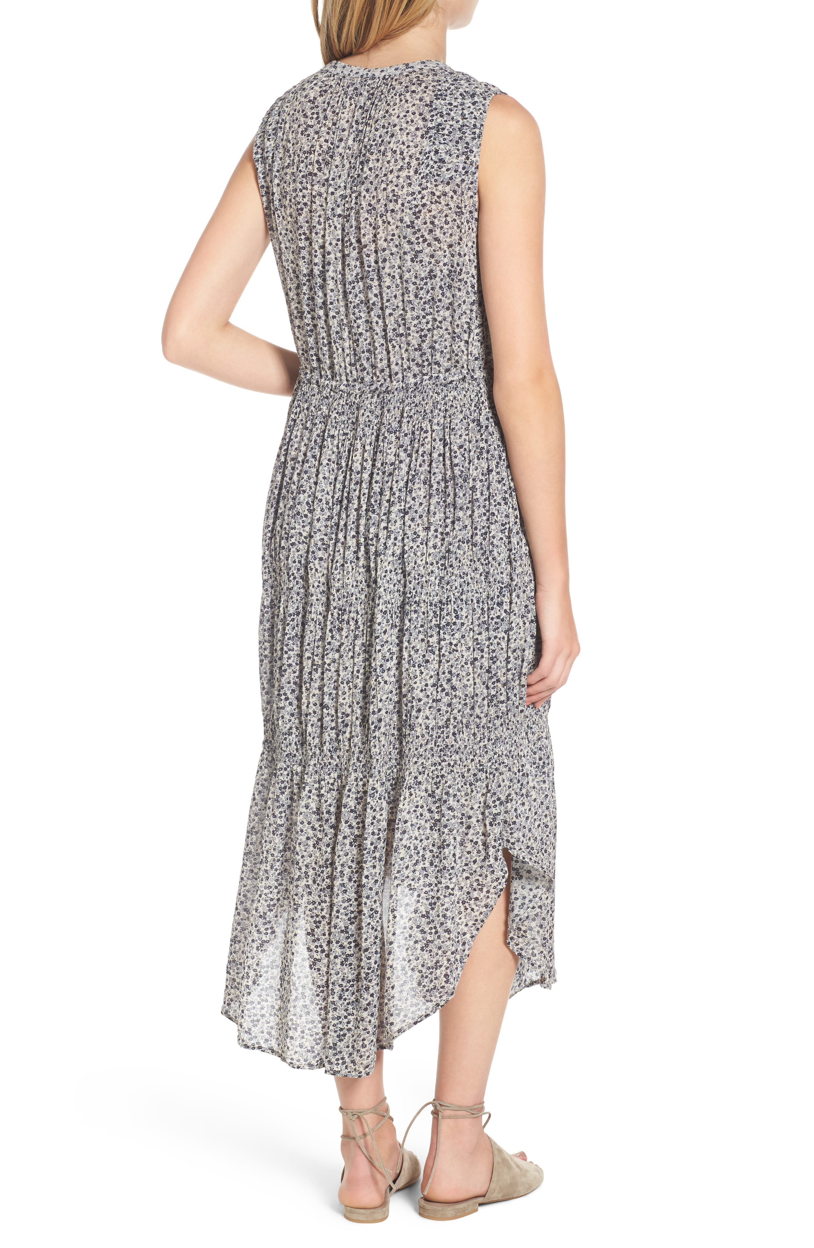 Floral Pleated Midi Dress,                             Alternate thumbnail 2, color,                             North/ Pearl Grey