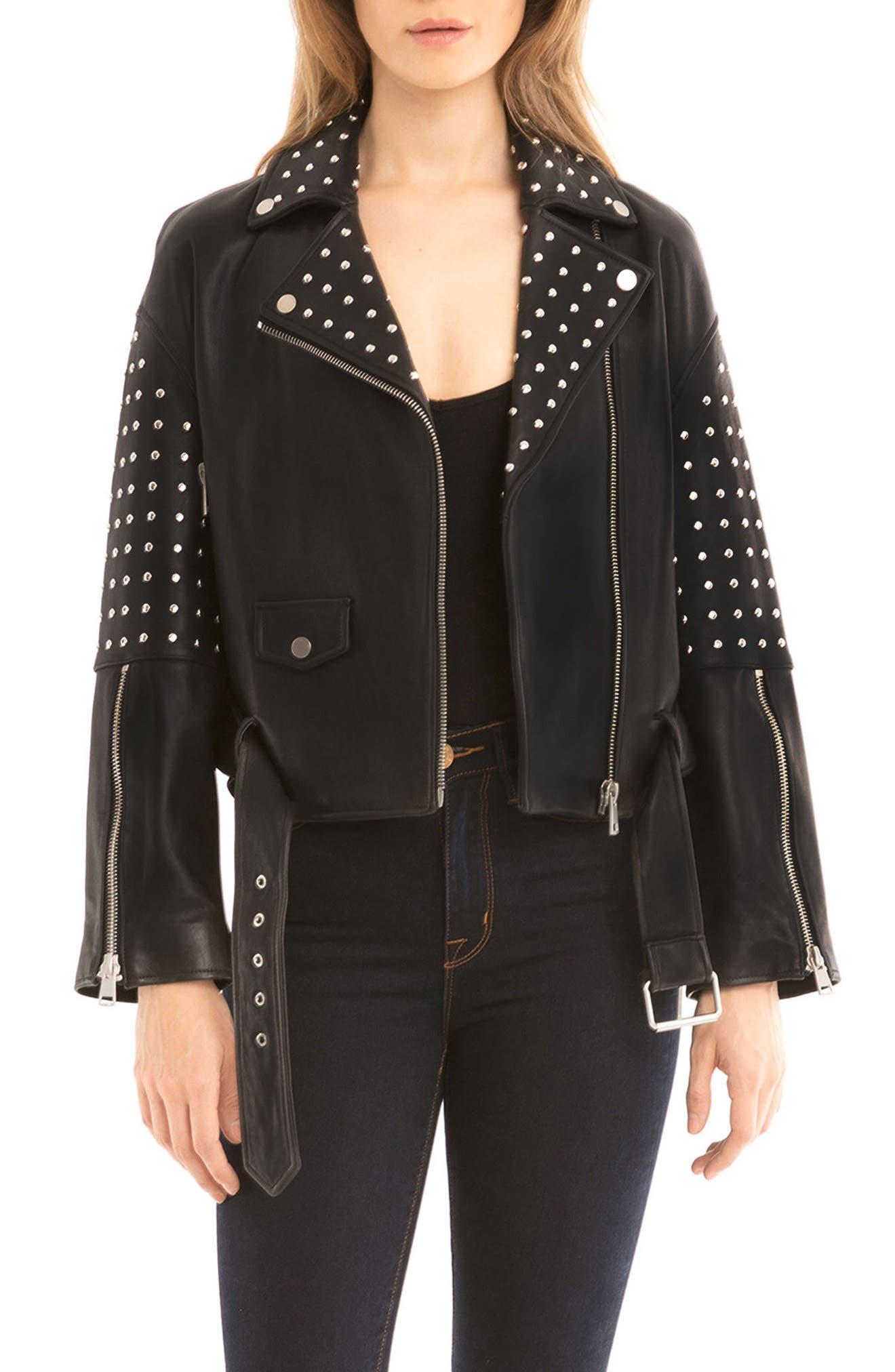 Bagatelle Studded Leather Jacket,                         Main,                         color, Black