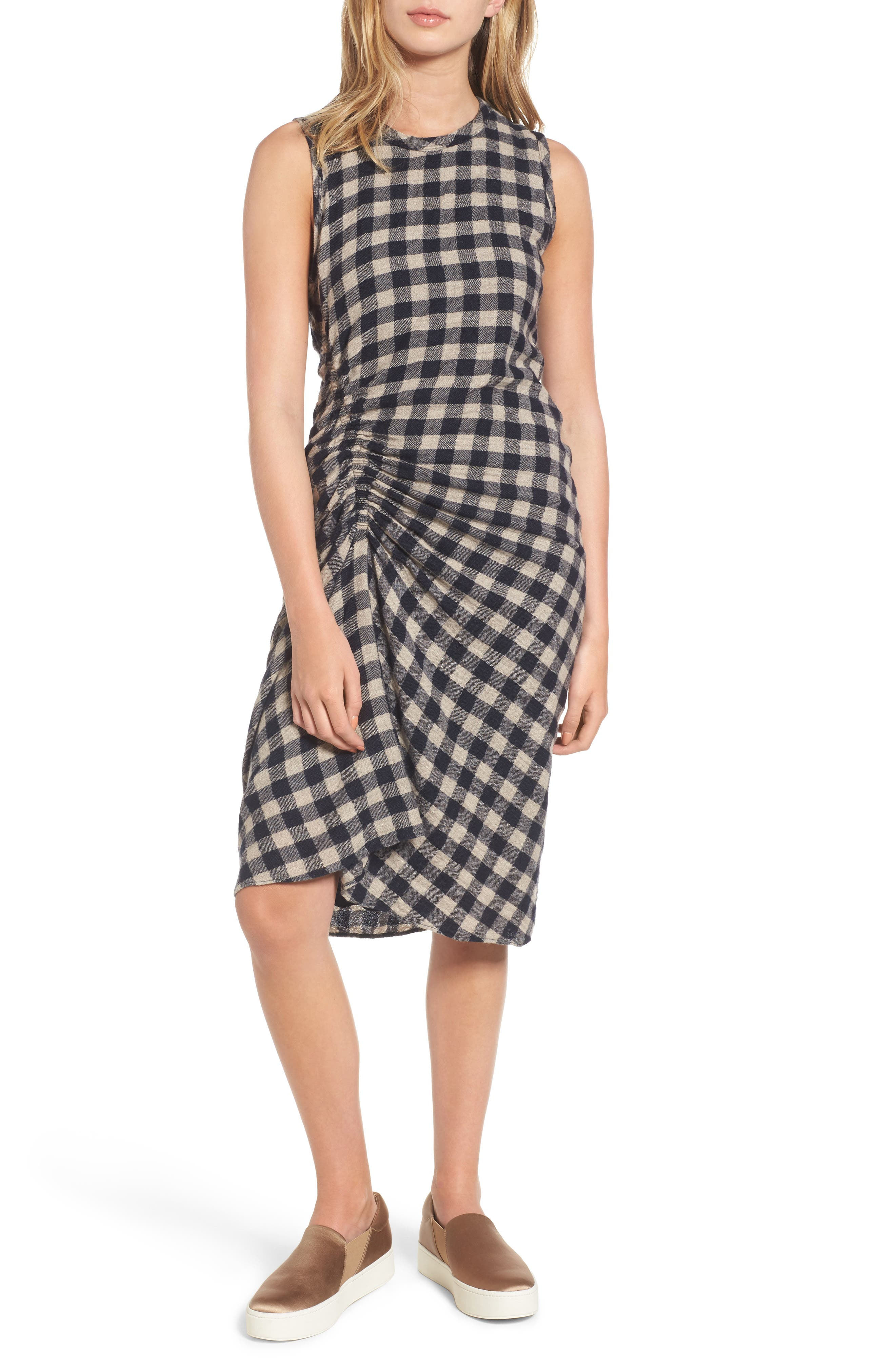 James Perse Spiral Shirred Sheath Dress