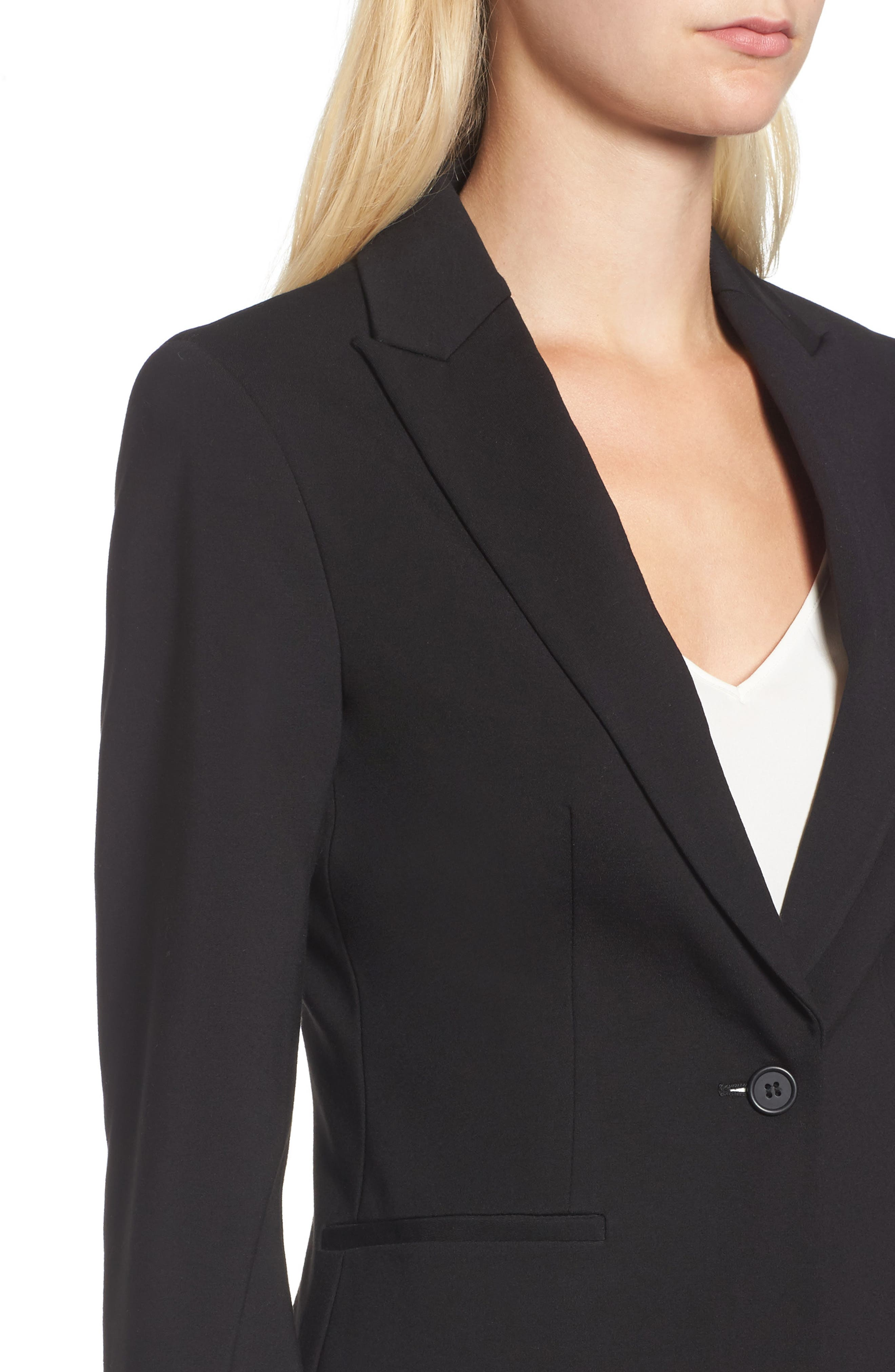 C-Suite Ponte Blazer,                             Alternate thumbnail 4, color,                             Black