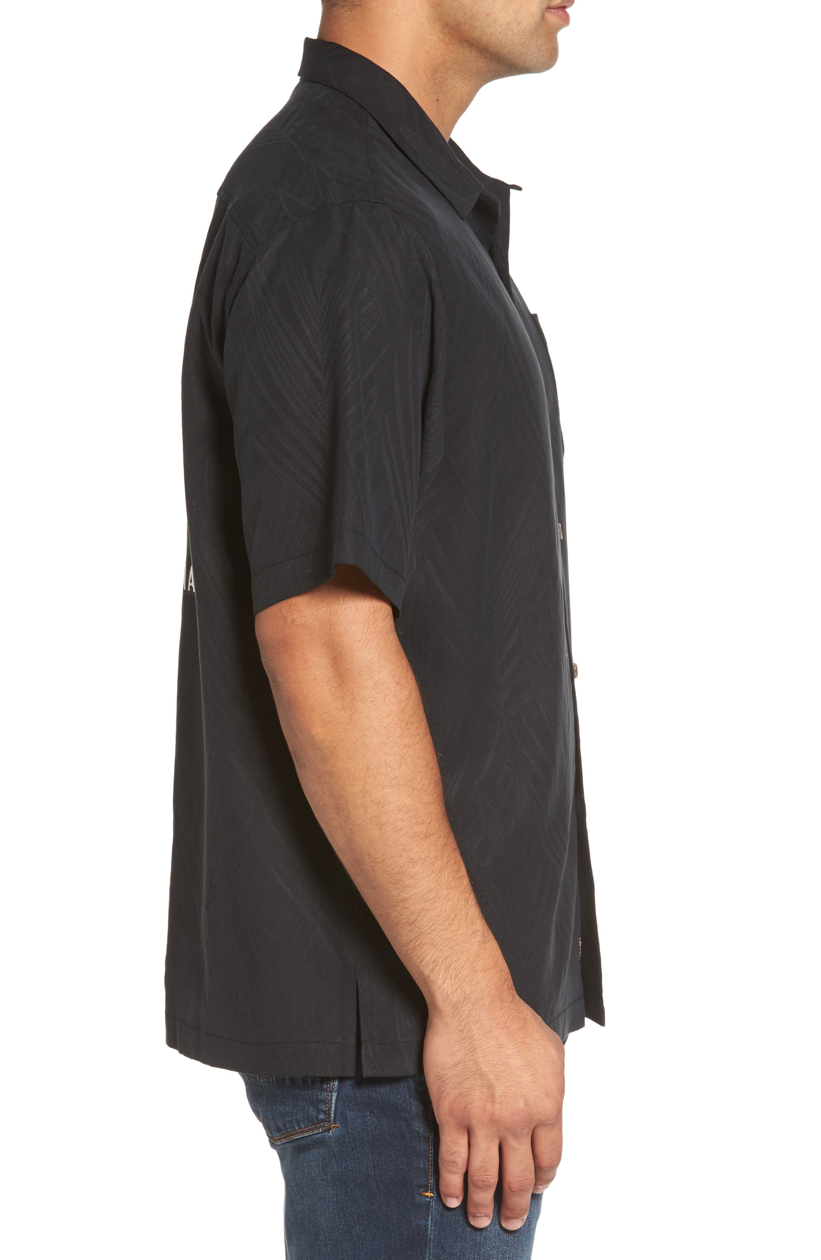 Local Watering Hole Embroidered Silk Camp Shirt,                             Alternate thumbnail 3, color,                             Black