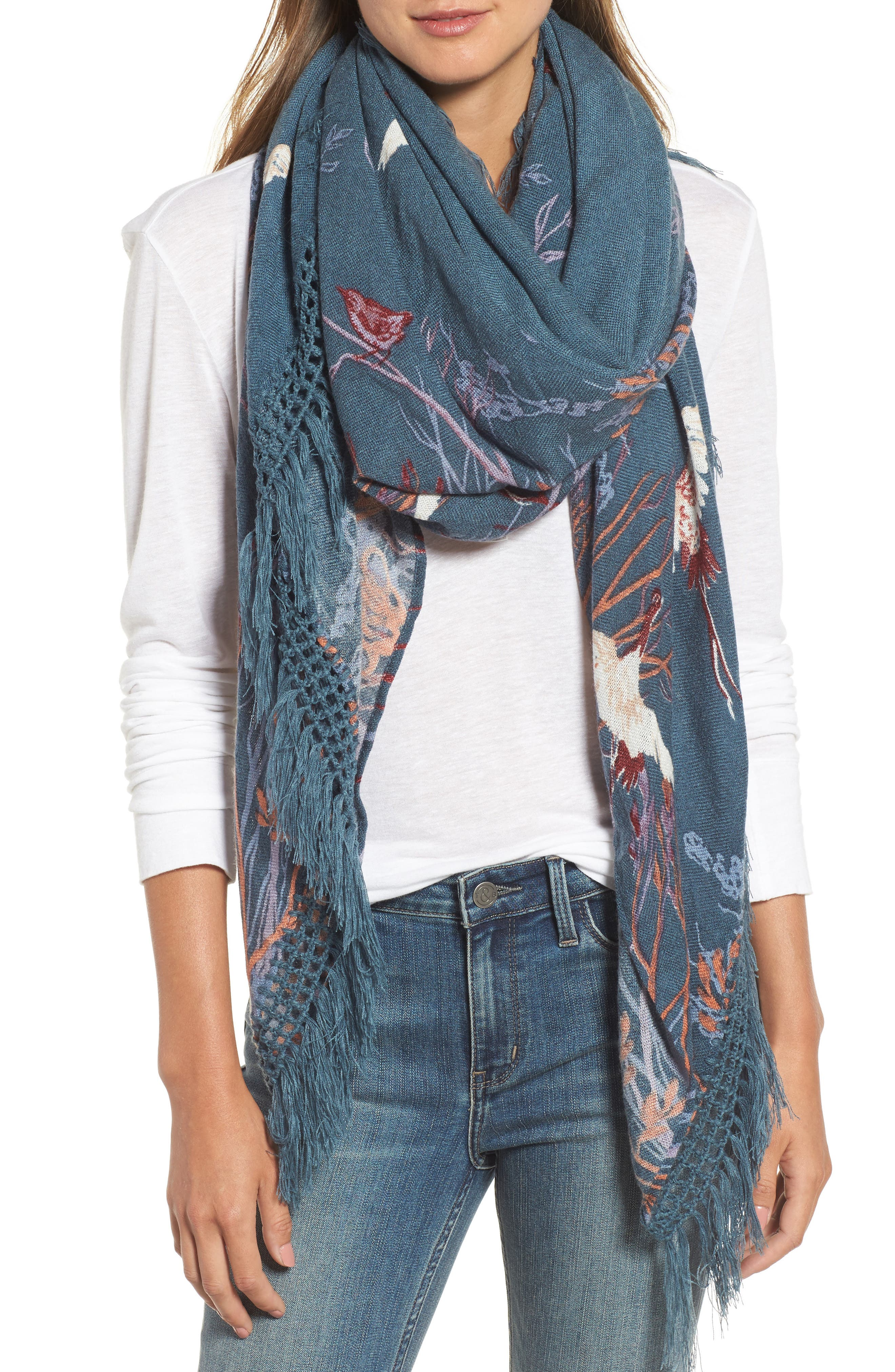 Foliage Forest Fringe Scarf,                             Main thumbnail 1, color,                             Teal Combo