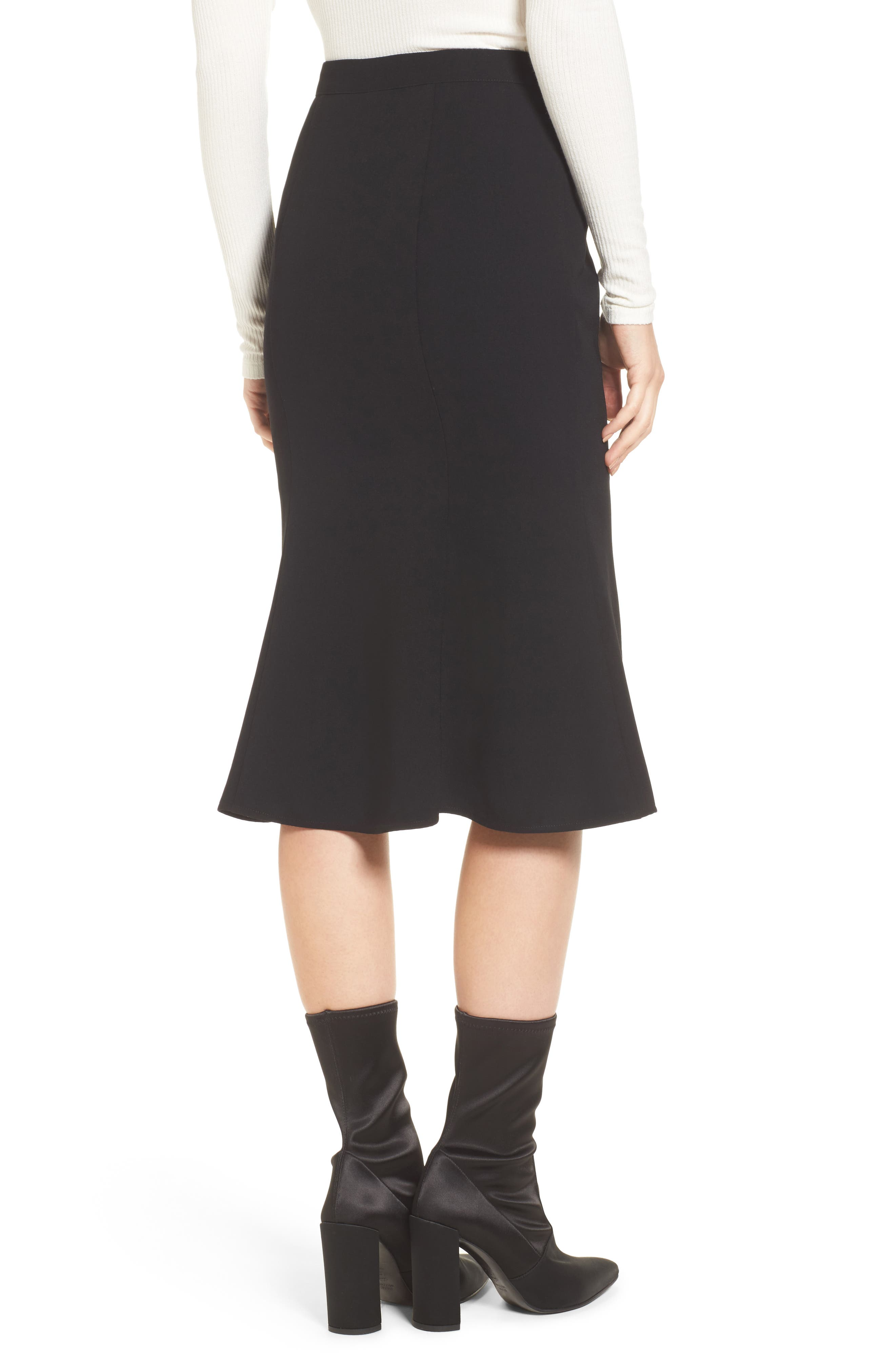 Button Front Skirt,                             Alternate thumbnail 2, color,                             Black